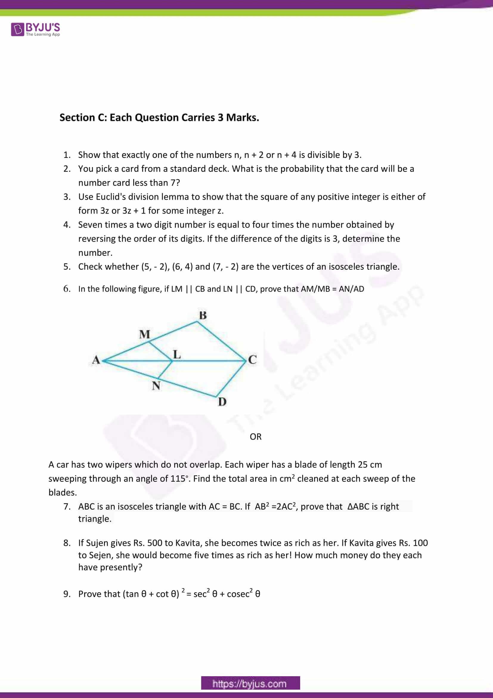 CBSE Class 10 Maths Sample Paper Set 6-2