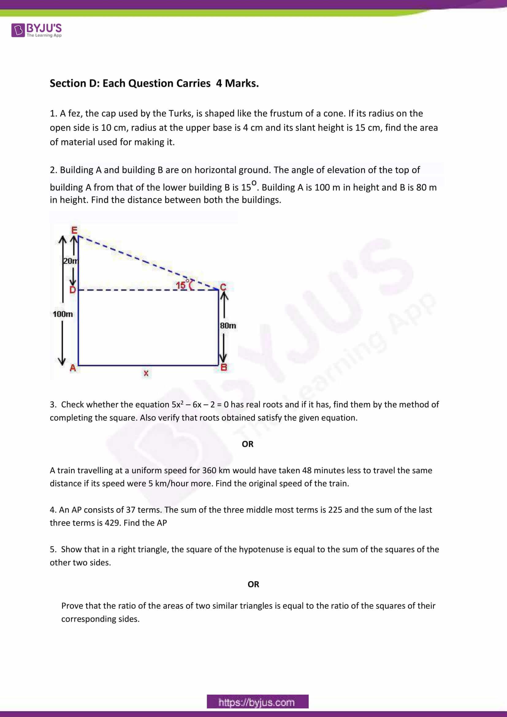 CBSE Class 10 Maths Sample Paper Set 6-3