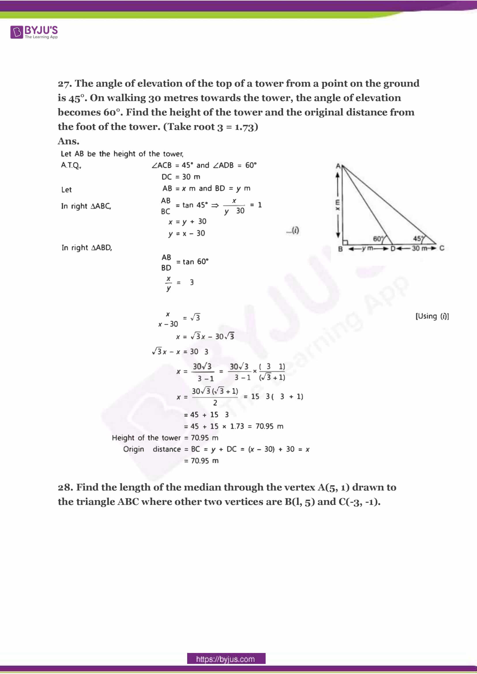 CBSE Class 10 Maths Sample Paper Solution Set 2-12