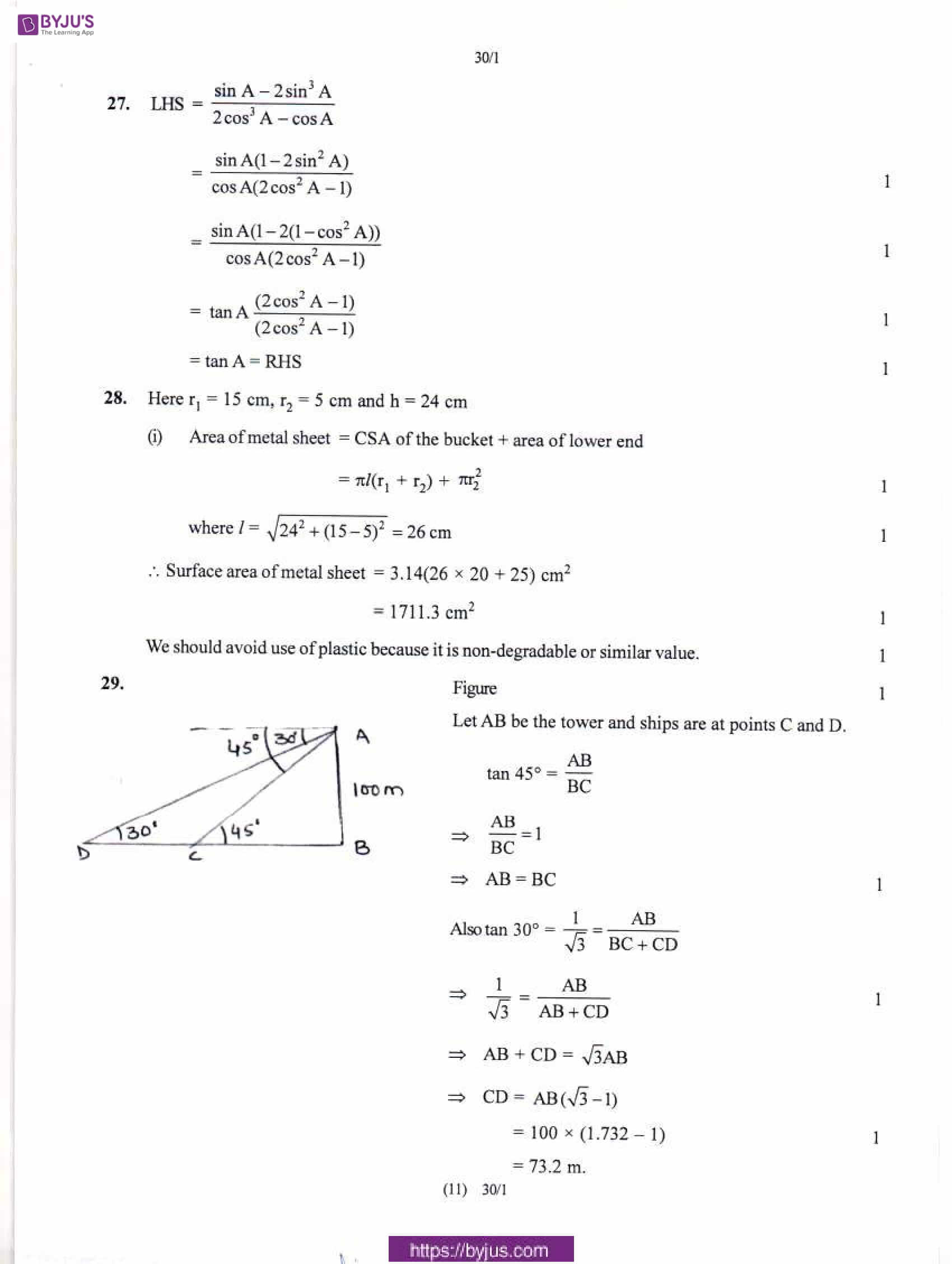 CBSE Class 10 Maths Solution PDF 2018 Set 1 10