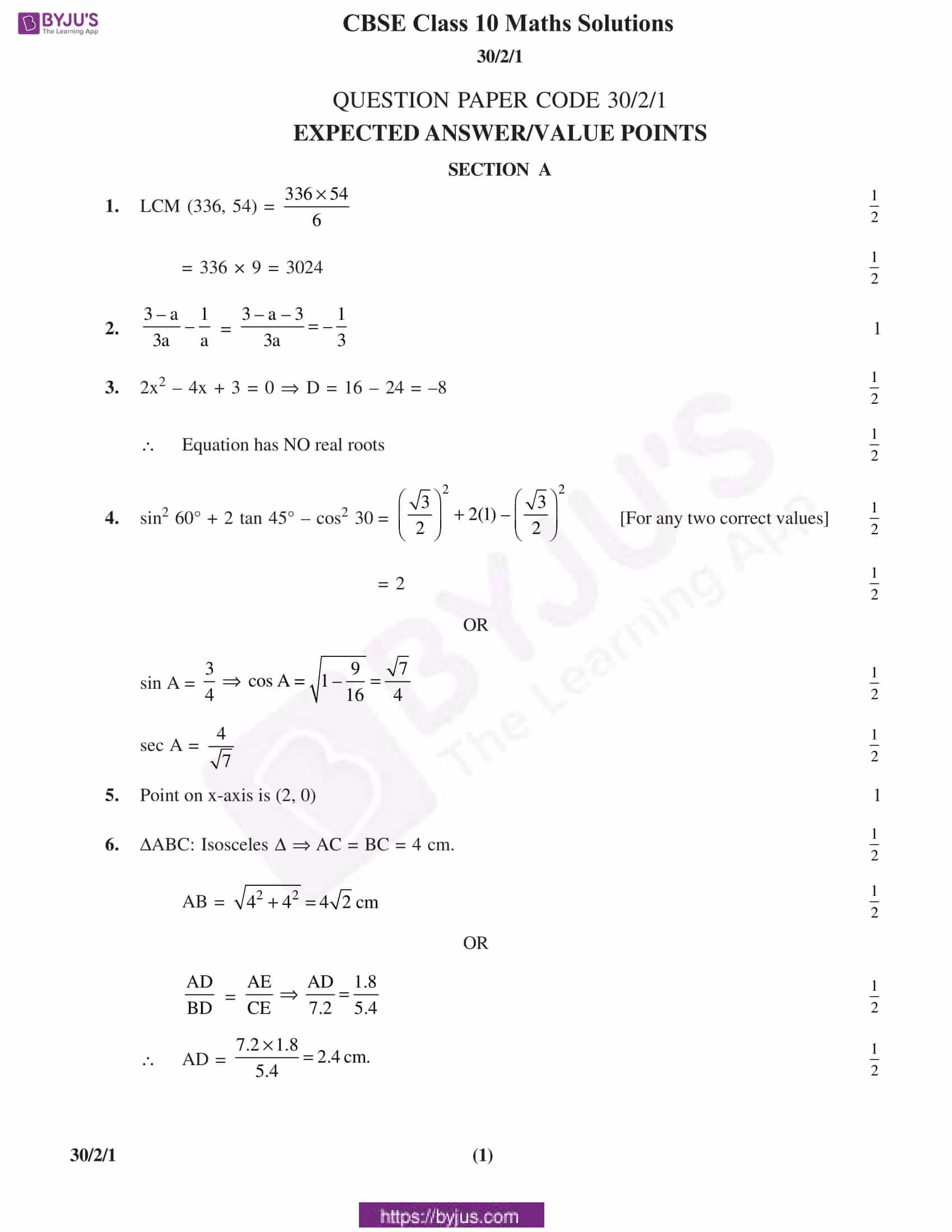 CBSE Class 10 Maths Solution PDF 2019 Set 2 01
