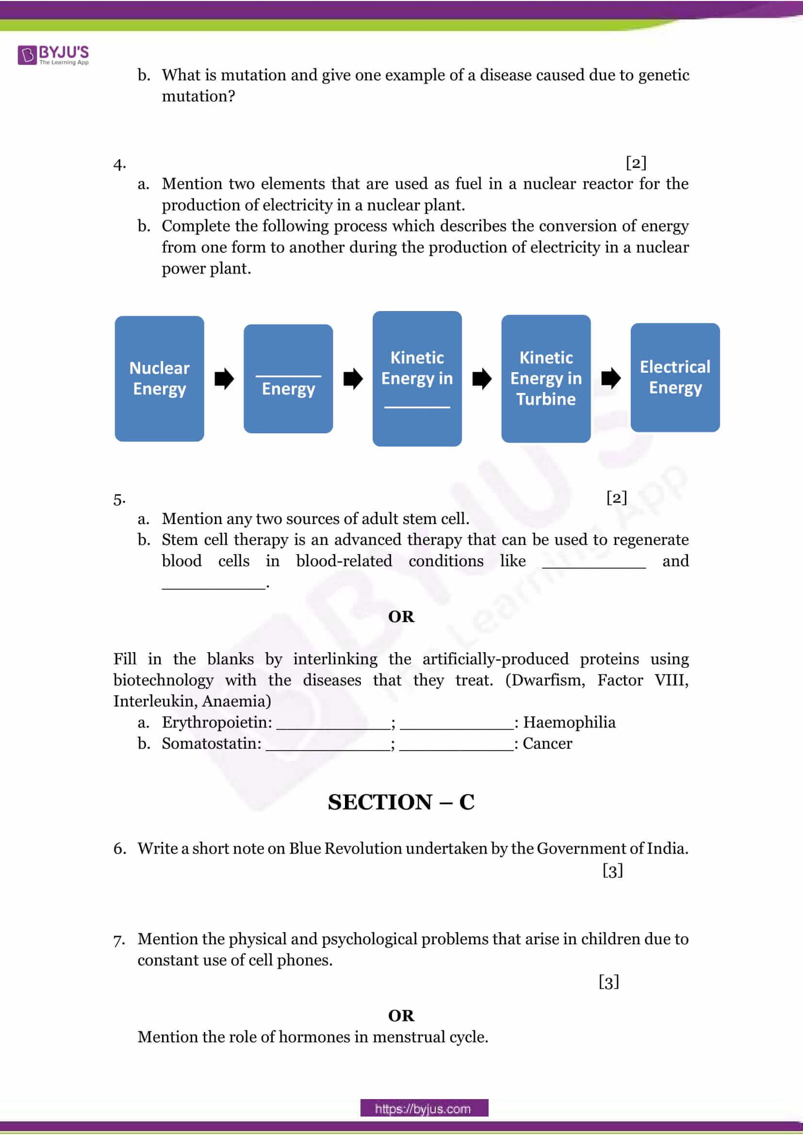 CBSE Class 10 Science Sample Paper Set 1-2