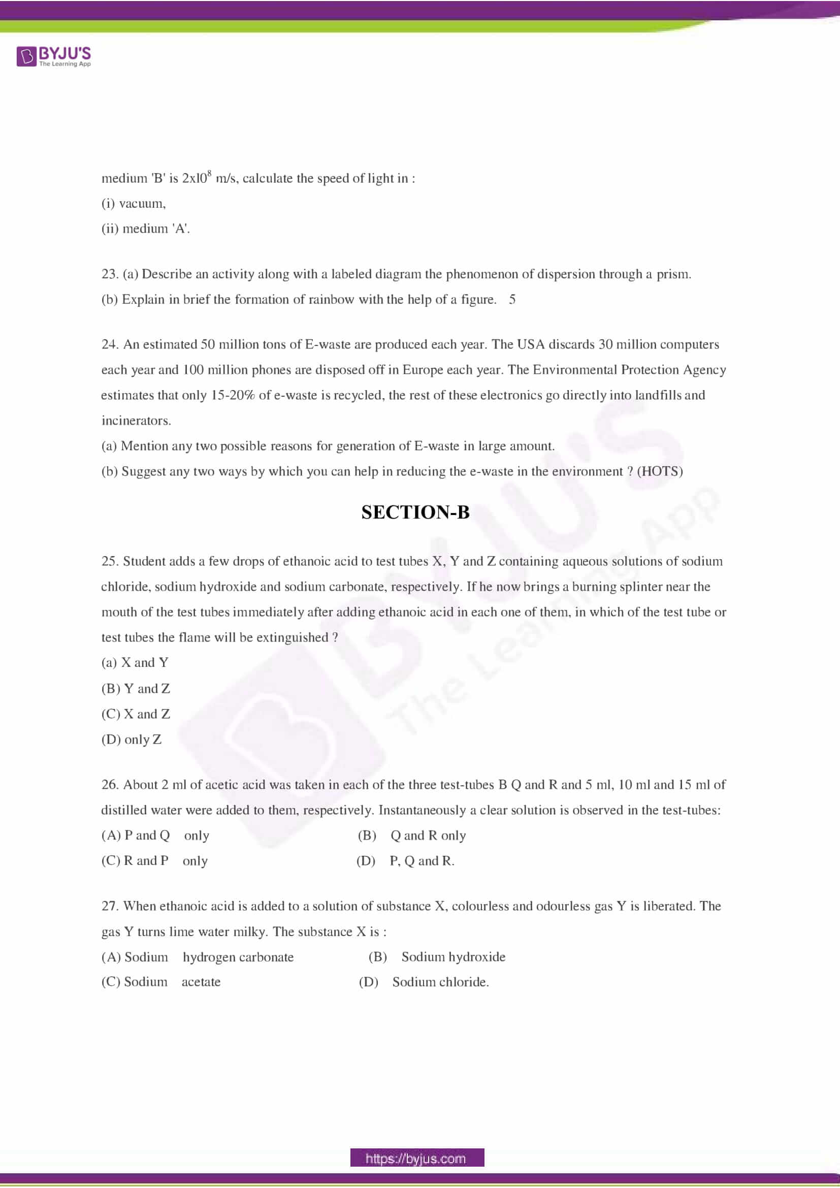 CBSE Class 10 Science Sample Paper Set 2-4