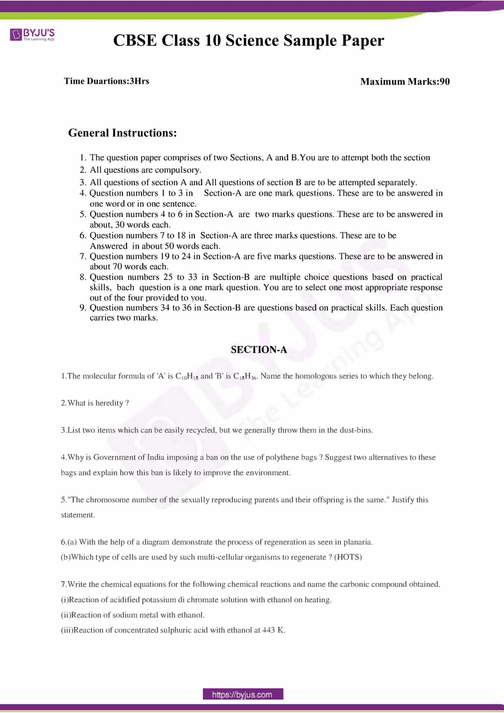 CBSE Class 10 Science Sample Paper Set 3-1