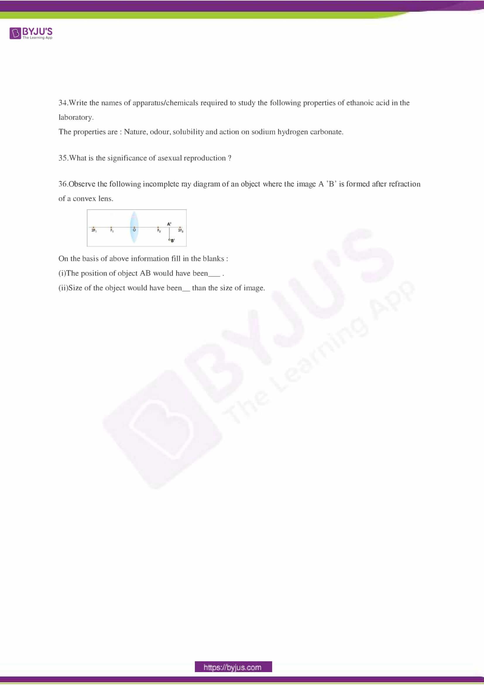 CBSE Class 10 Science Sample Paper Set 3-6