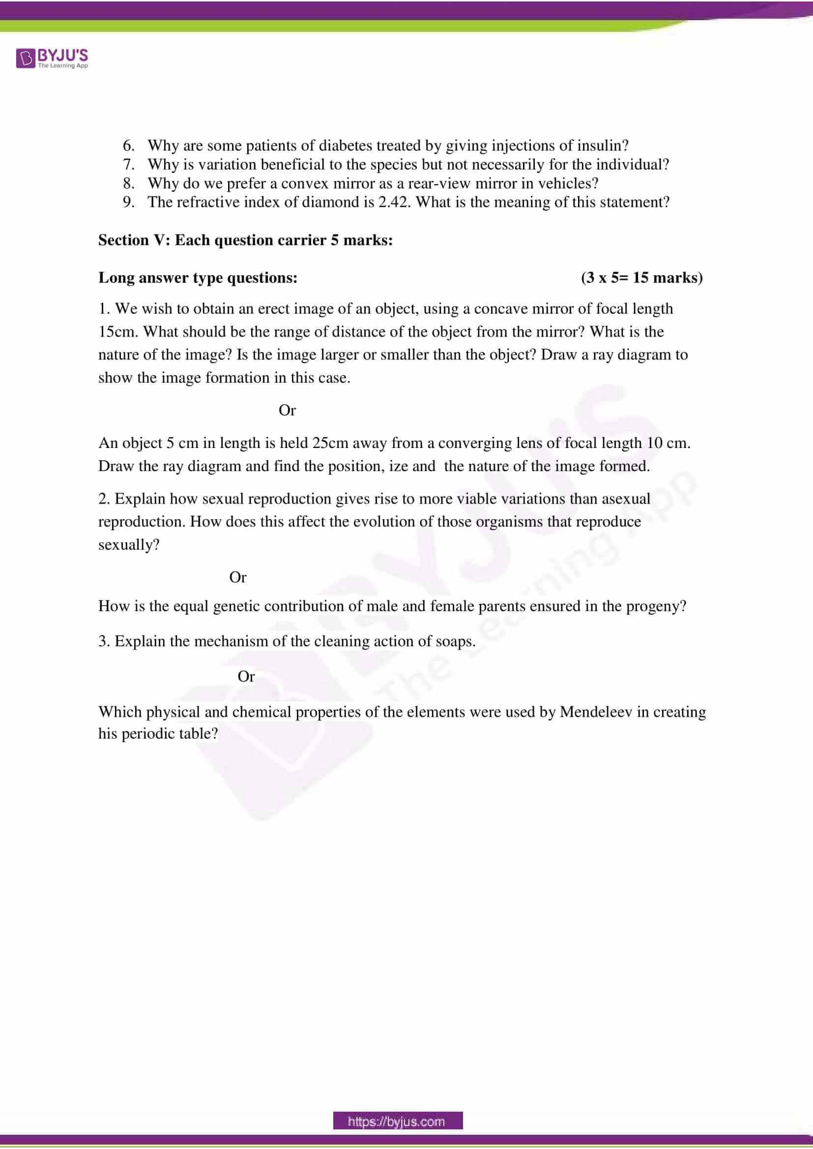 CBSE Class 10 Science Sample Paper Set 6-4
