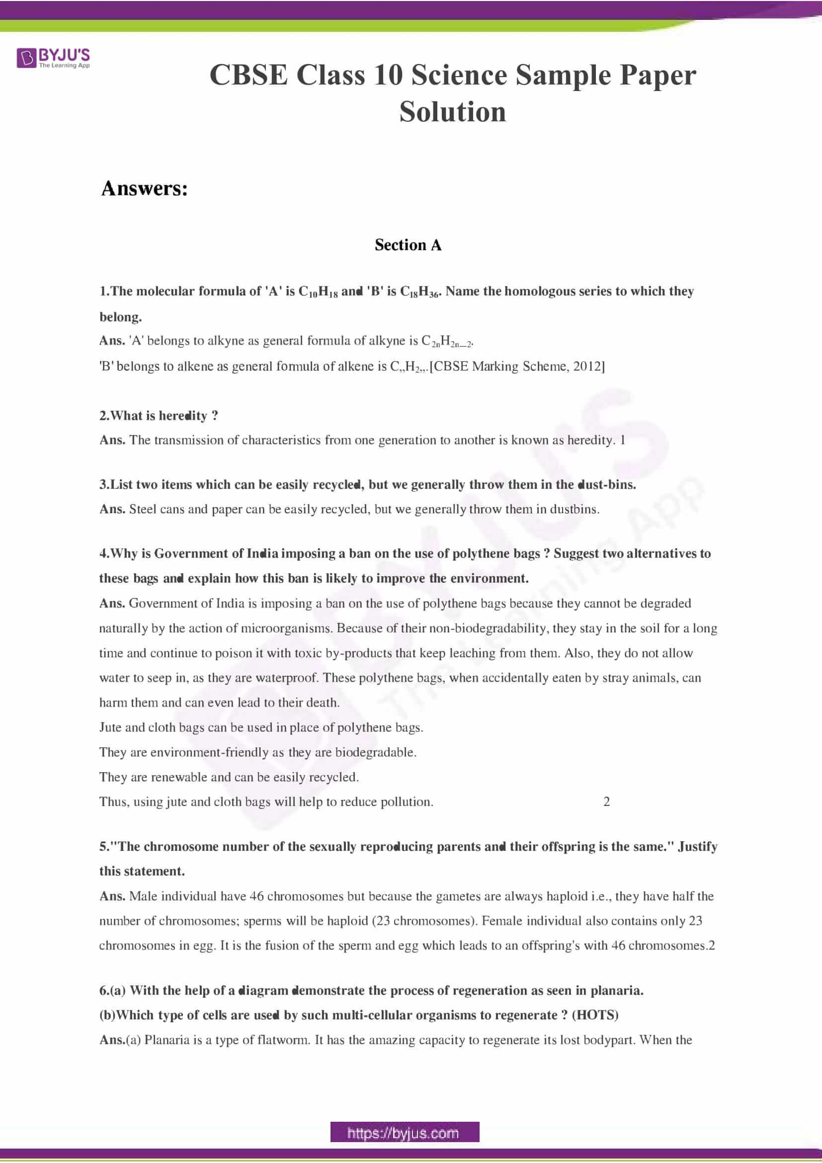 CBSE Class 10 Science Sample Paper Solution Set 3-01
