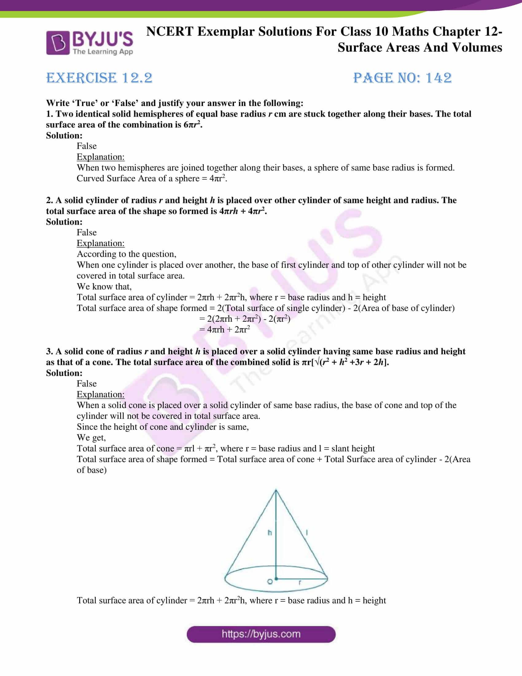 Ncert Exemplar solution class 10 maths chapter 12