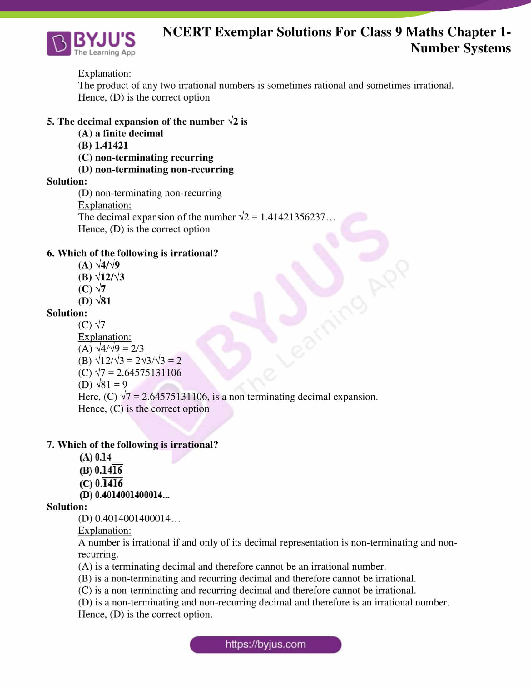 NCERT Exemplar Solutions for Class 9 Maths Chapter 1 02