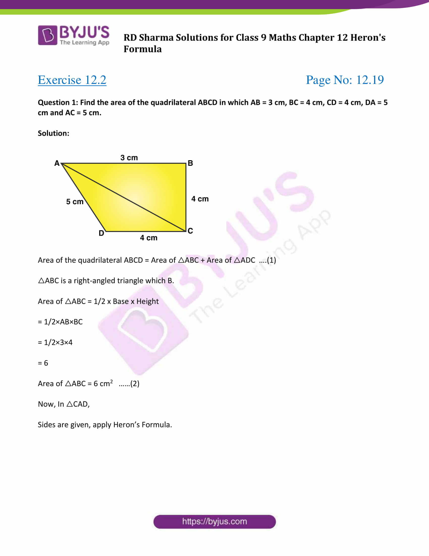 RD Sharma Solution Class 9 Maths Chapter 12 Herons Formula 07