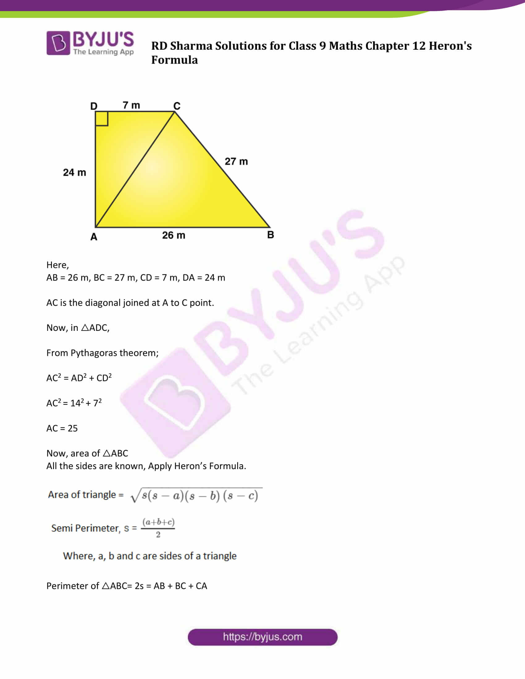 RD Sharma Solution Class 9 Maths Chapter 12 Herons Formula 09