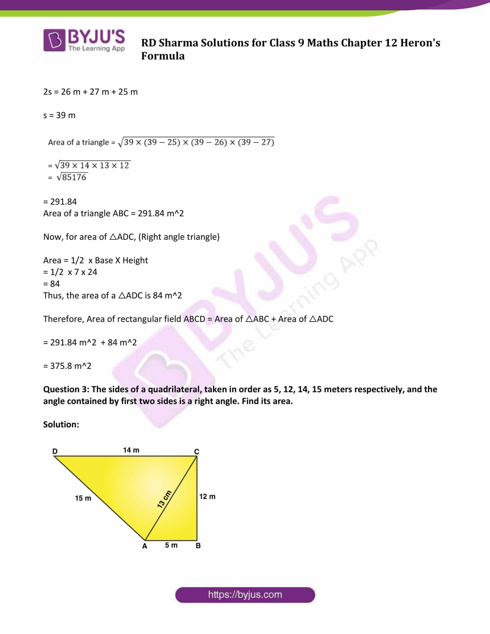 RD Sharma Solution Class 9 Maths Chapter 12 Herons Formula 10