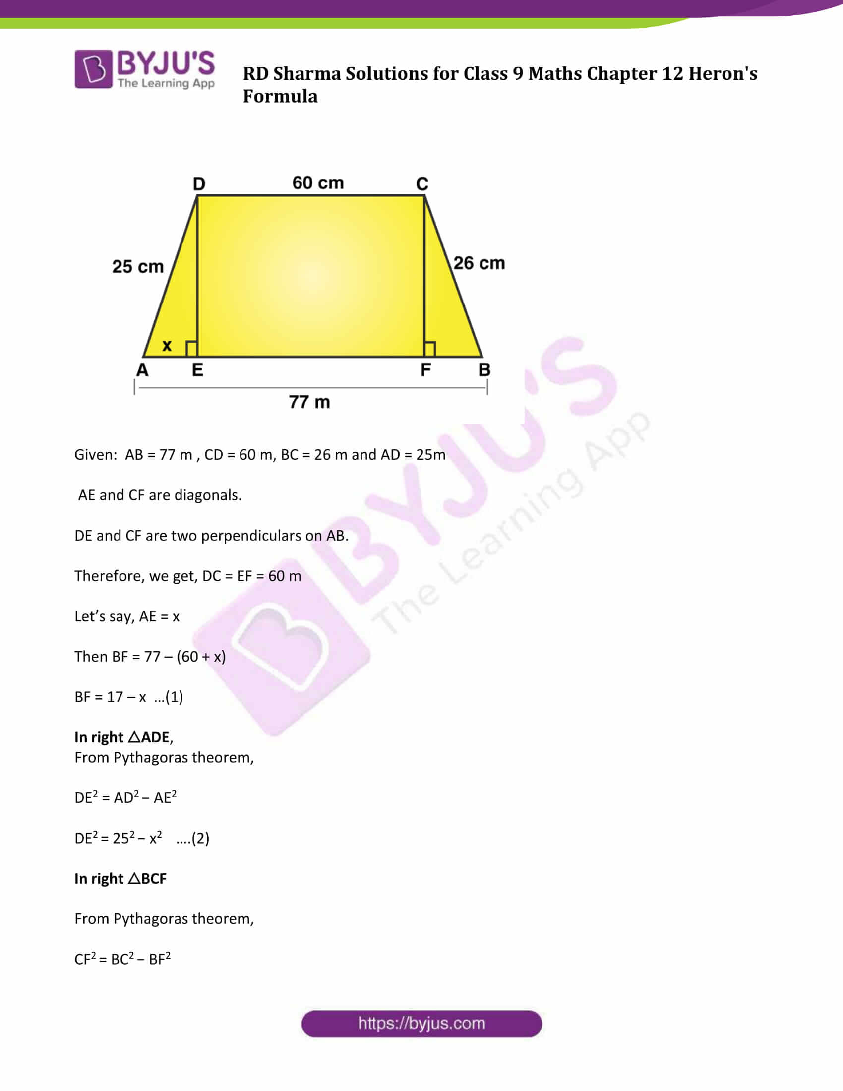 RD Sharma Solution Class 9 Maths Chapter 12 Herons Formula 14