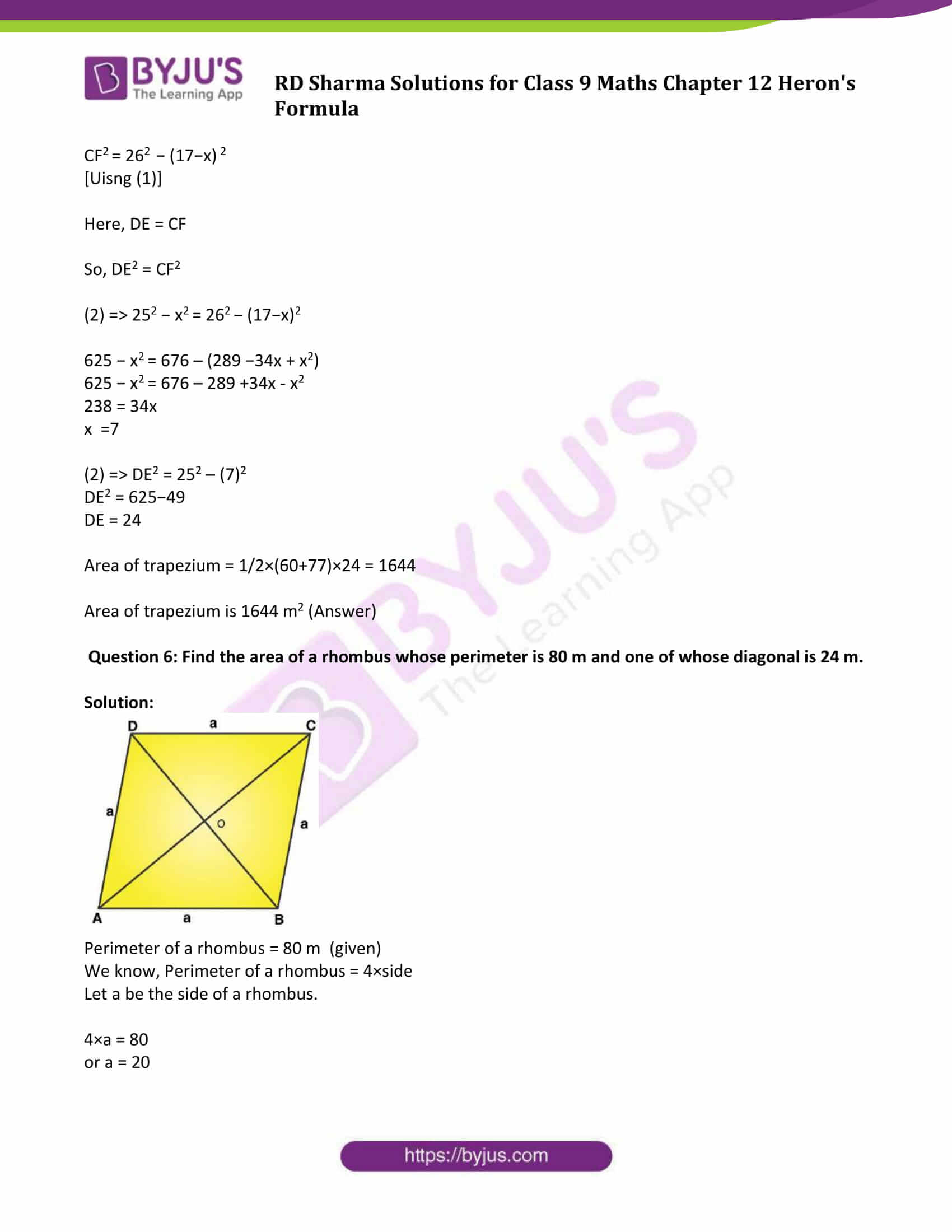 RD Sharma Solution Class 9 Maths Chapter 12 Herons Formula 15