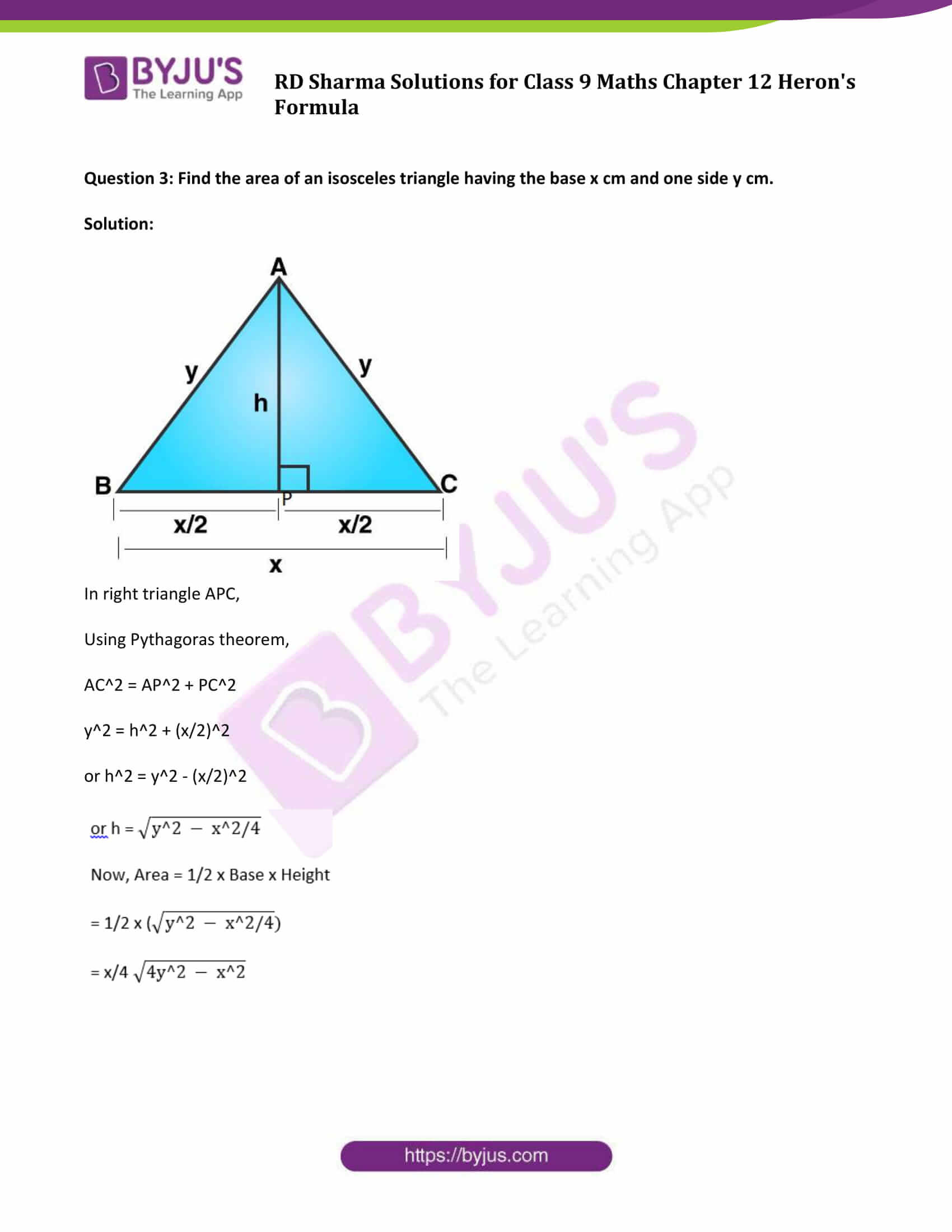 RD Sharma Solution Class 9 Maths Chapter 12 Herons Formula 19