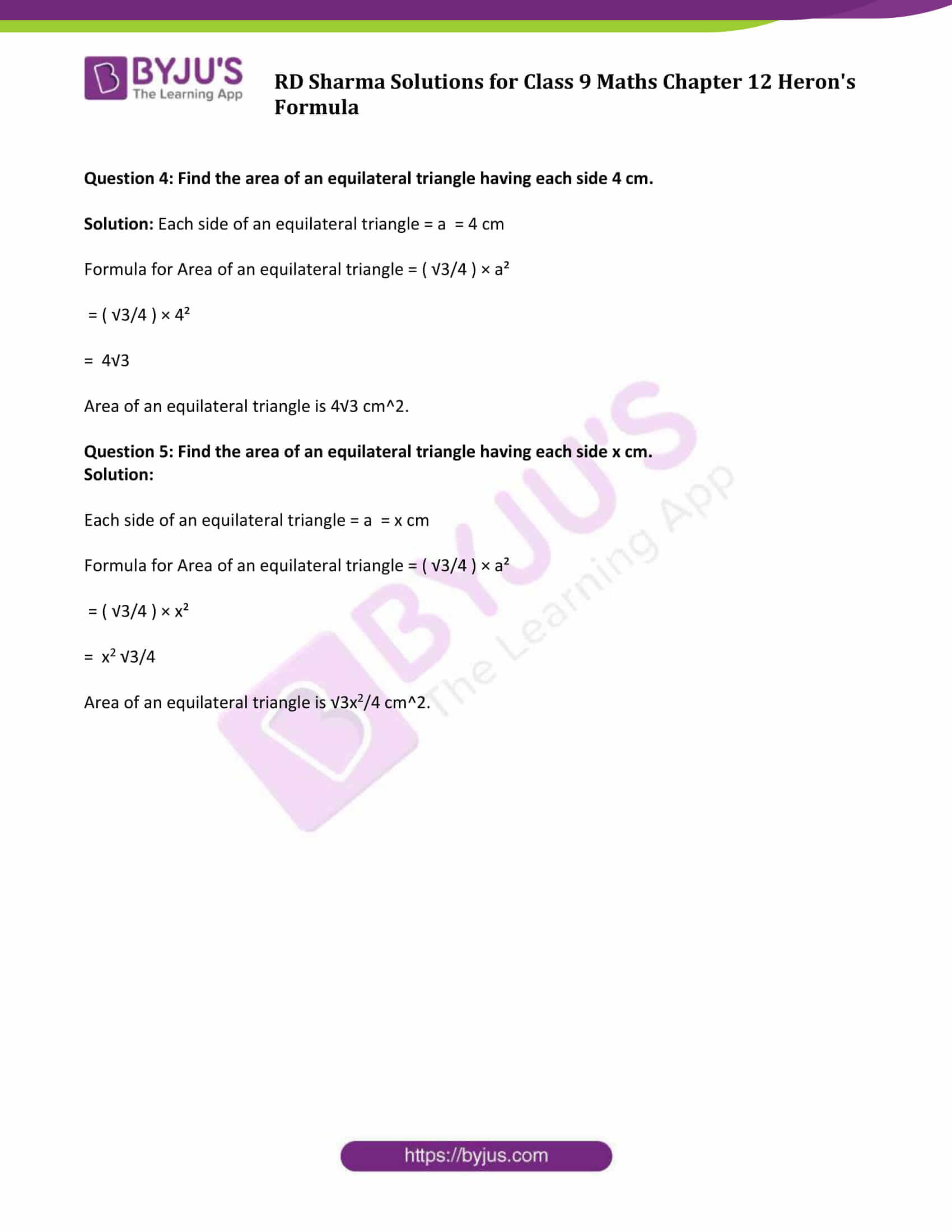 RD Sharma Solution Class 9 Maths Chapter 12 Herons Formula 20