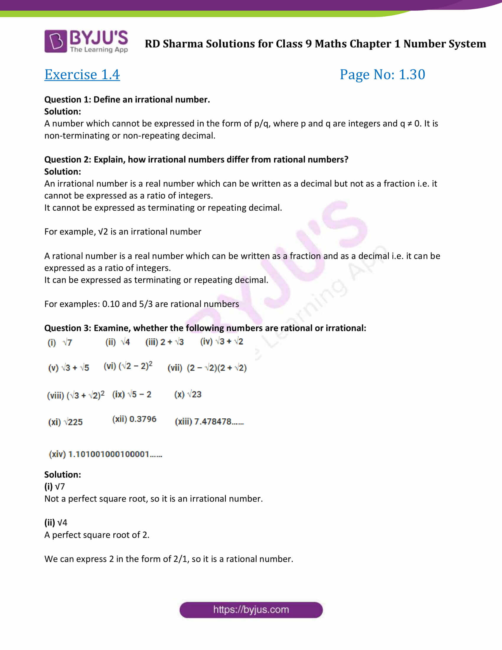 RD Sharma Solution class 9 Maths Chapter 1 Number System 13