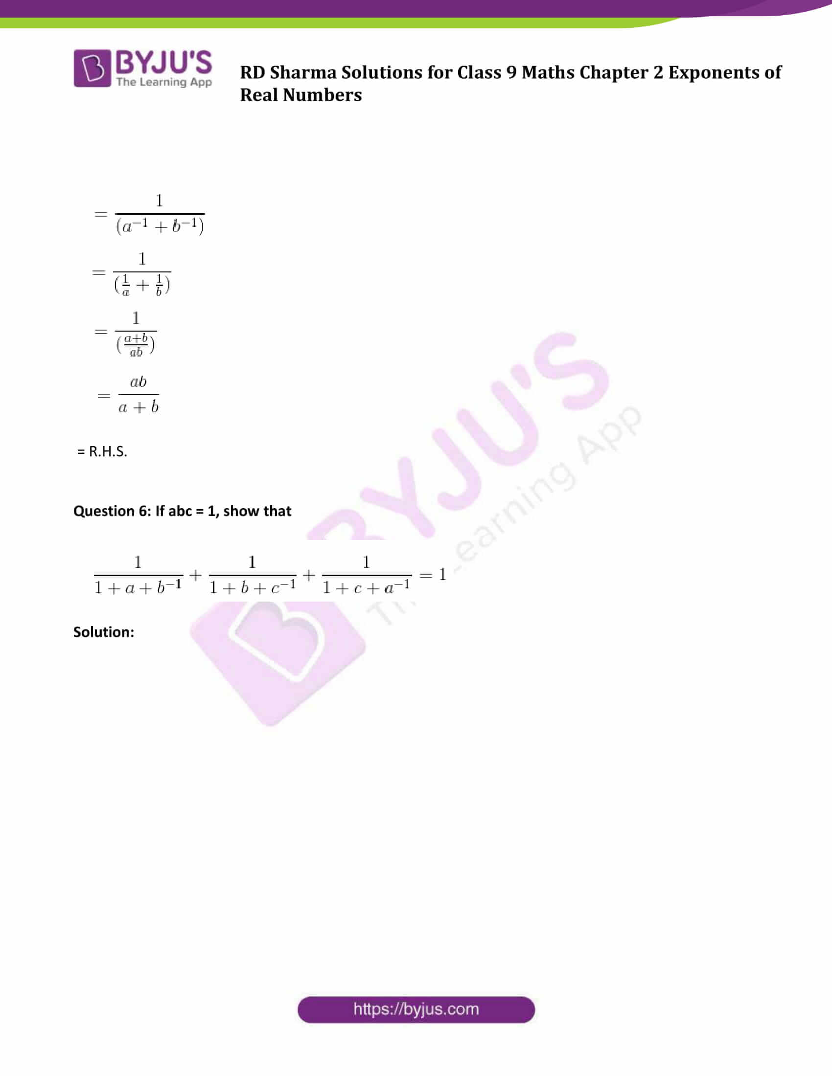 RD Sharma Solution class 9 Maths Chapter 2 Exponents of Real Numbers 07