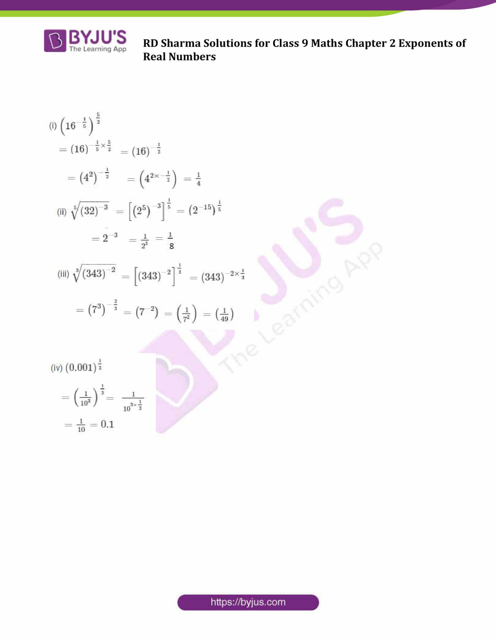 RD Sharma Solution class 9 Maths Chapter 2 Exponents of Real Numbers 12