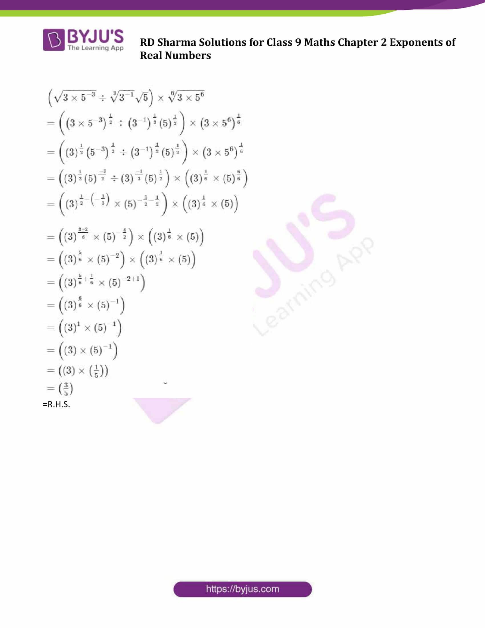 RD Sharma Solution class 9 Maths Chapter 2 Exponents of Real Numbers 15