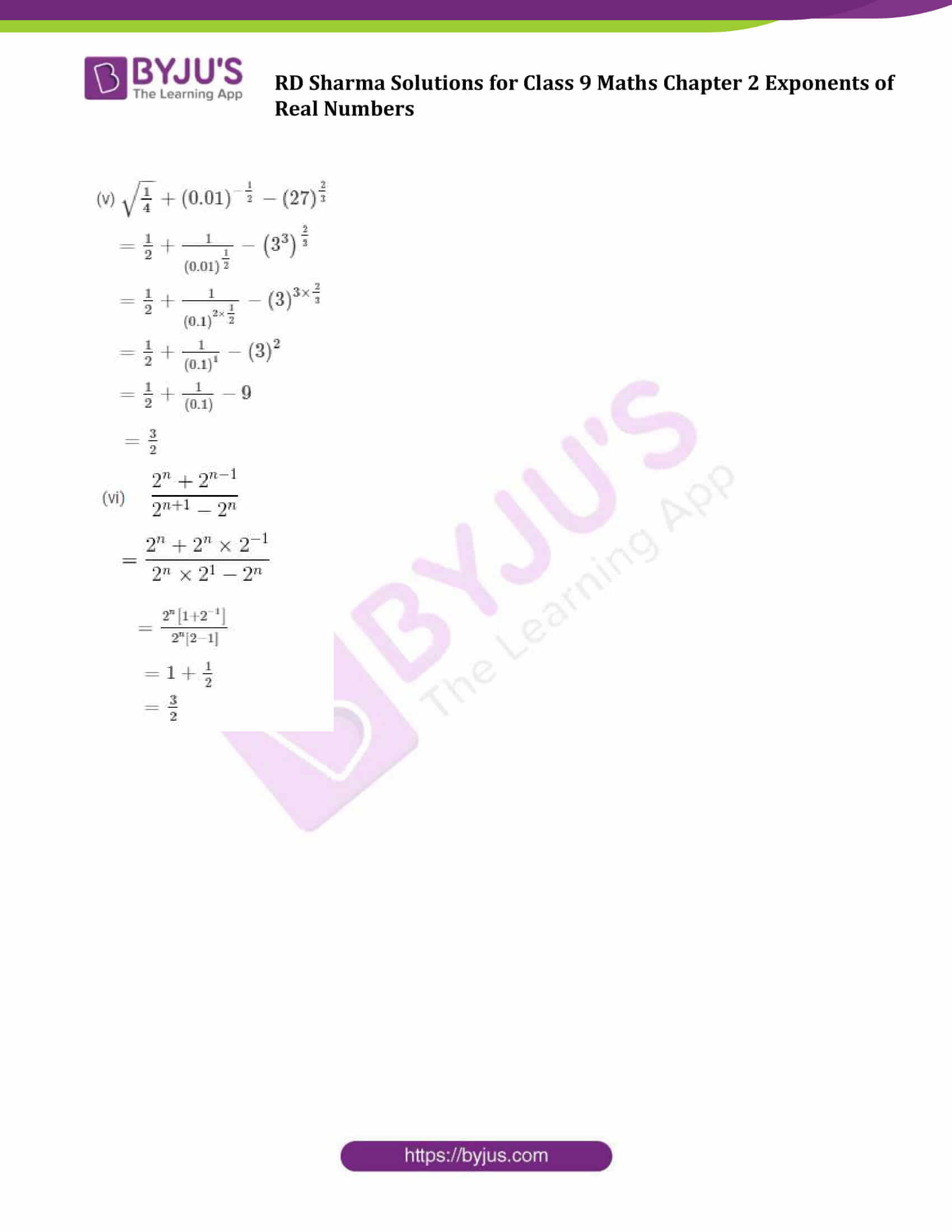 RD Sharma Solution class 9 Maths Chapter 2 Exponents of Real Numbers 18