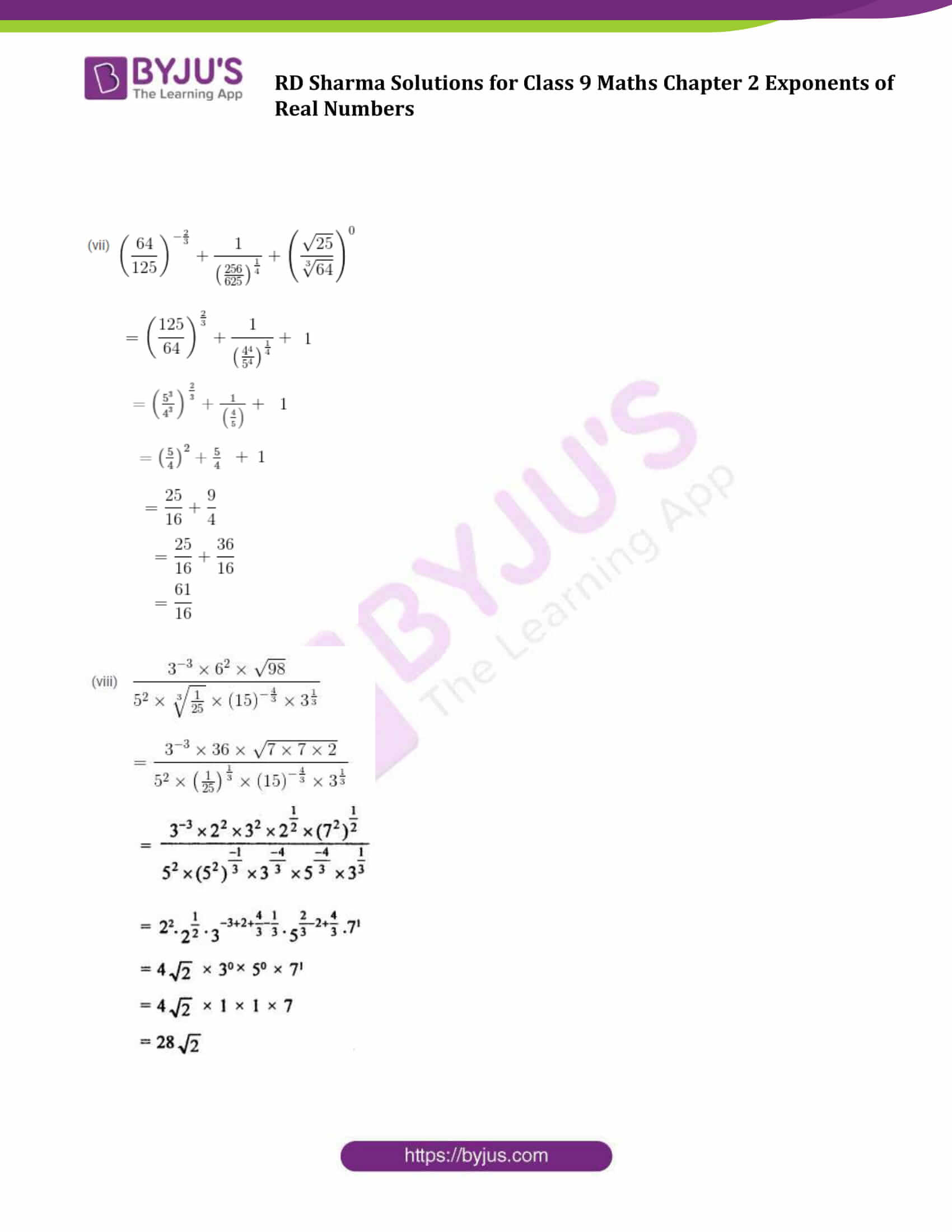 RD Sharma Solution class 9 Maths Chapter 2 Exponents of Real Numbers 19