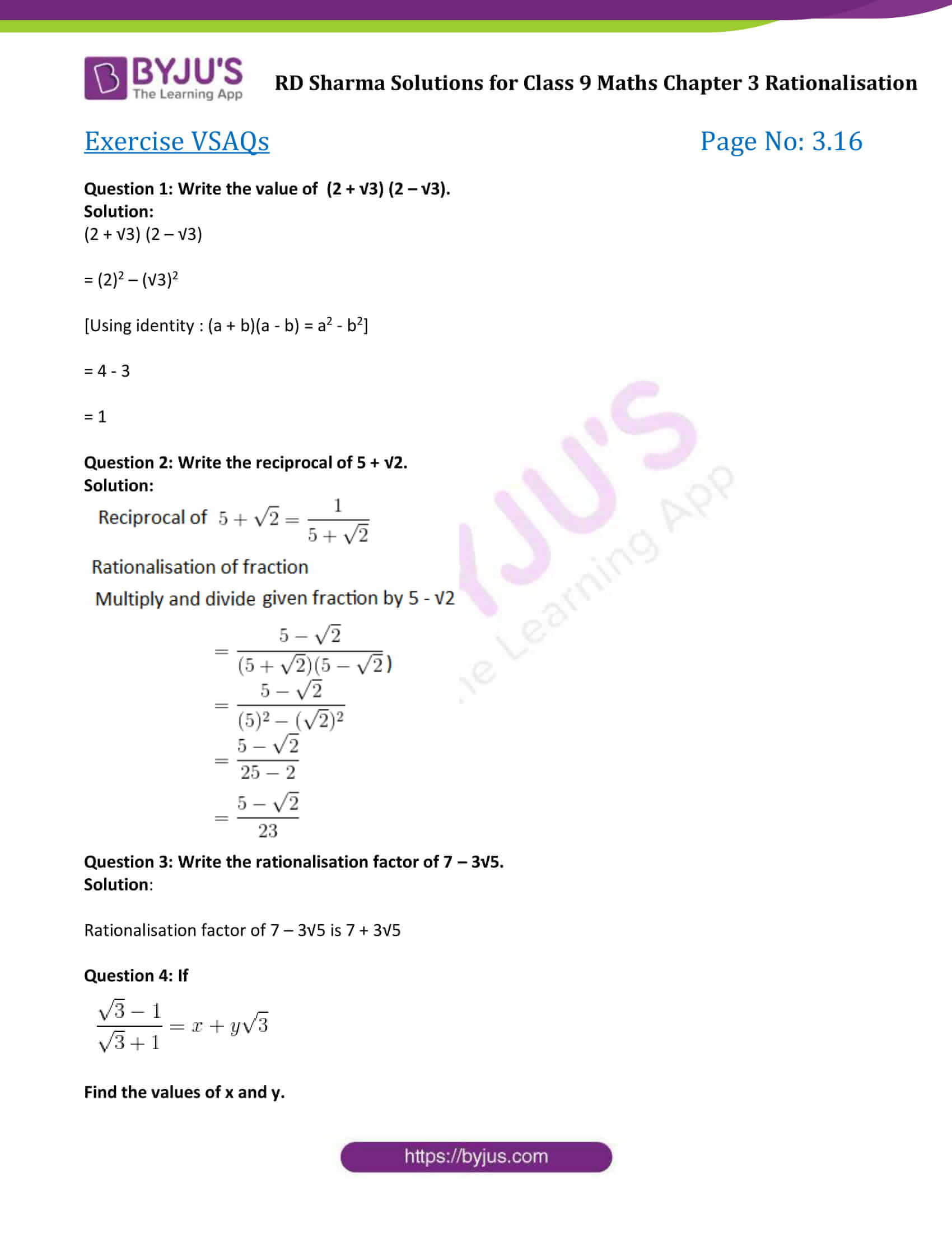 RD Sharma Solution class 9 Maths Chapter 3 Rationalisation 14