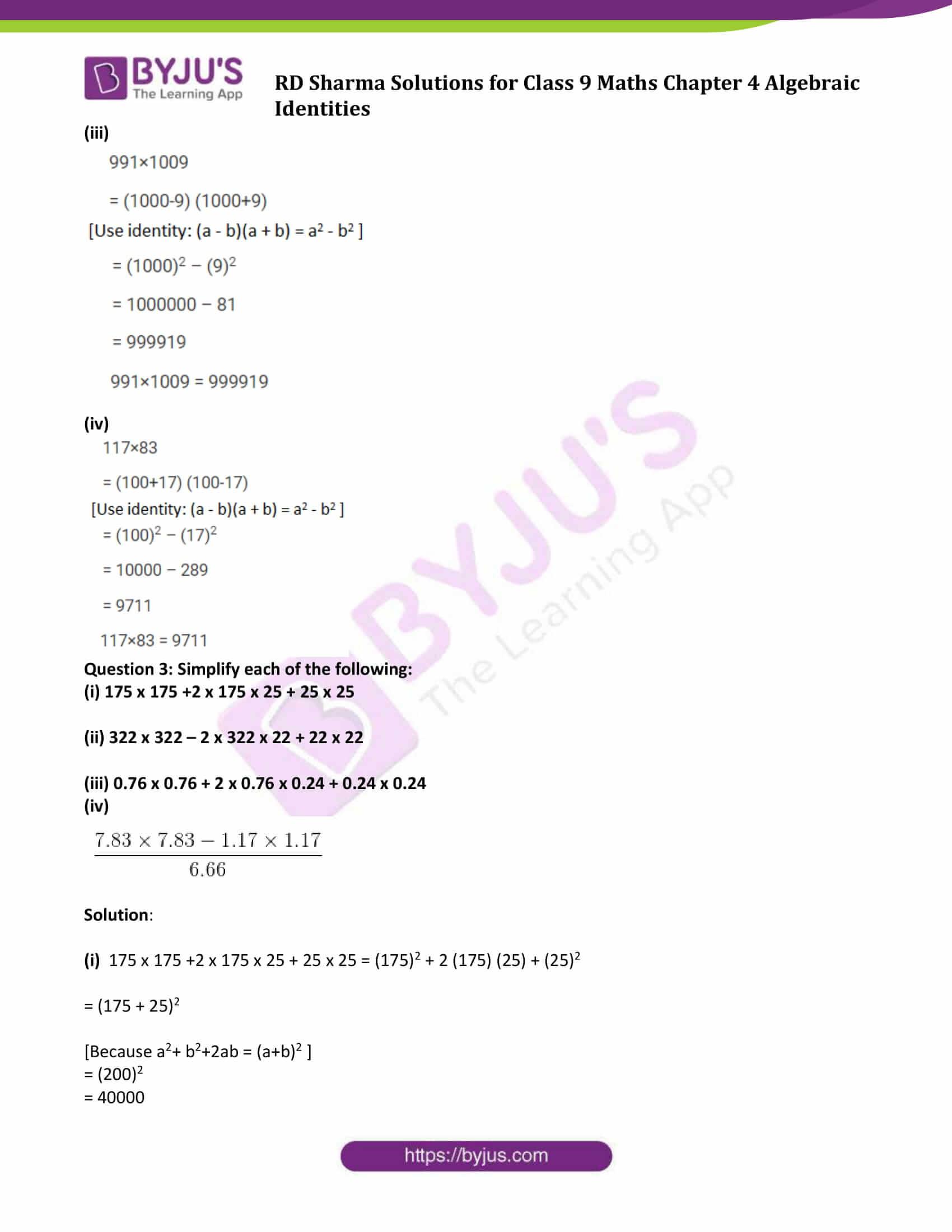 RD Sharma Solution class 9 Maths Chapter 4 Algebraic Identities 03