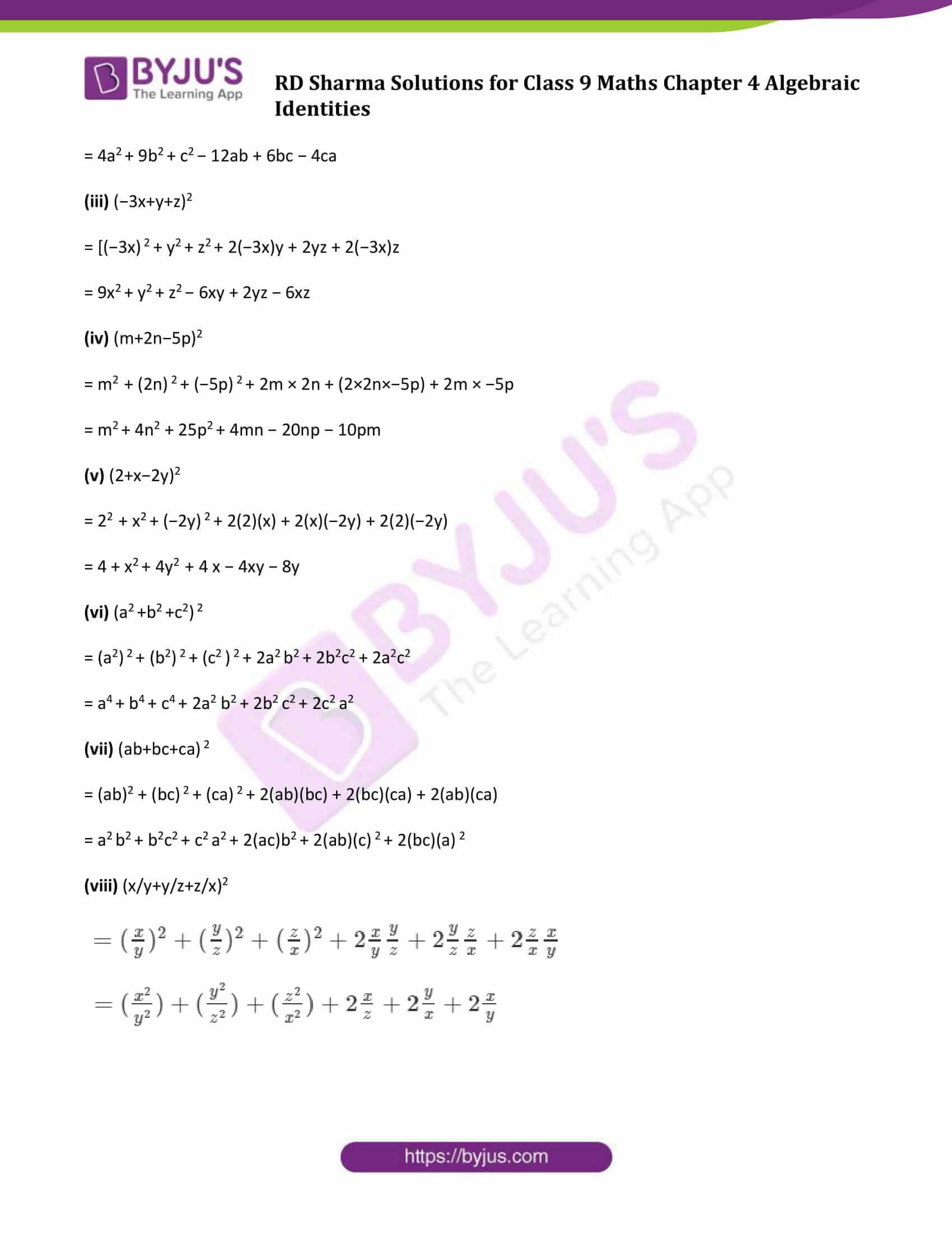 RD Sharma Solution class 9 Maths Chapter 4 Algebraic Identities 07