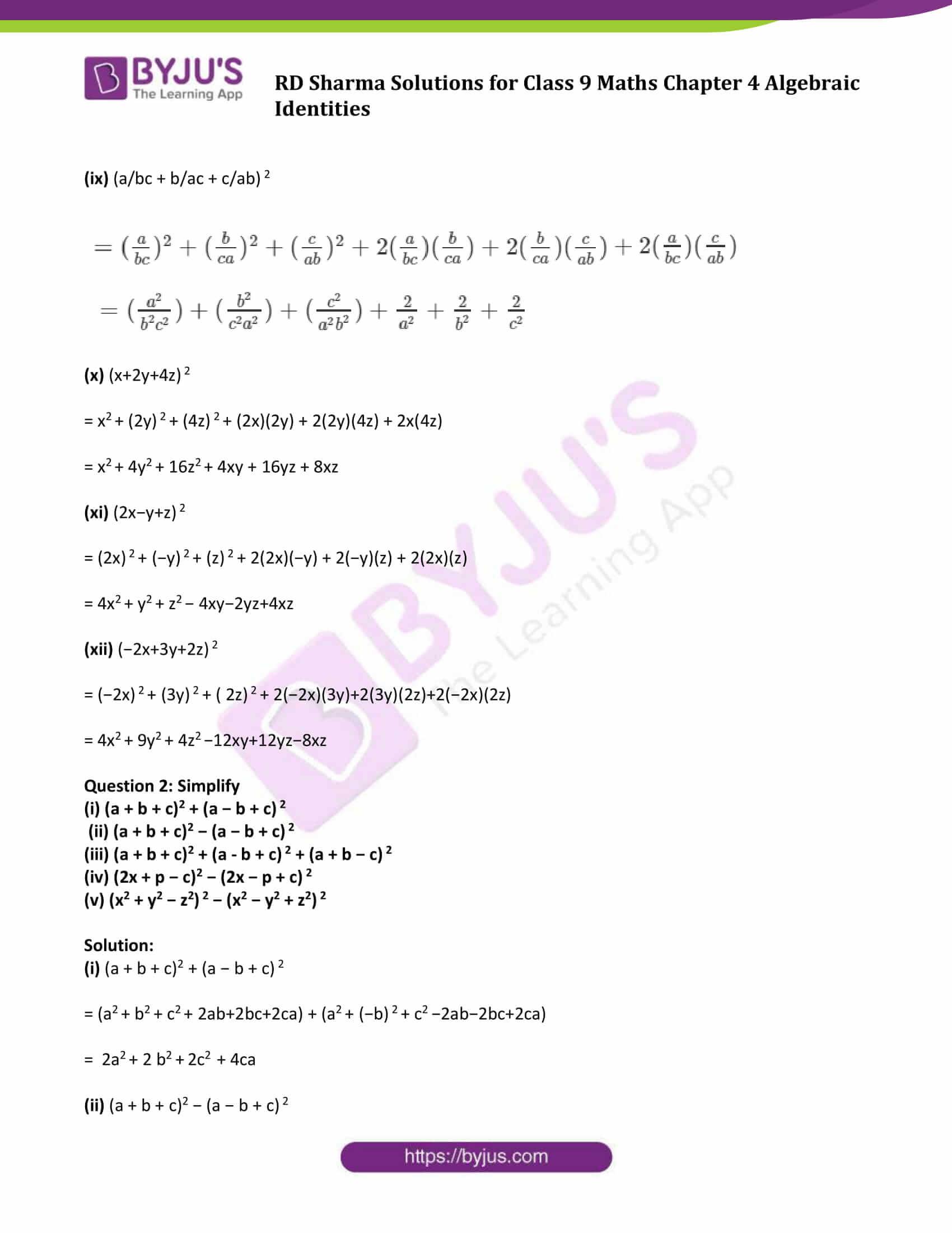 RD Sharma Solution class 9 Maths Chapter 4 Algebraic Identities 08