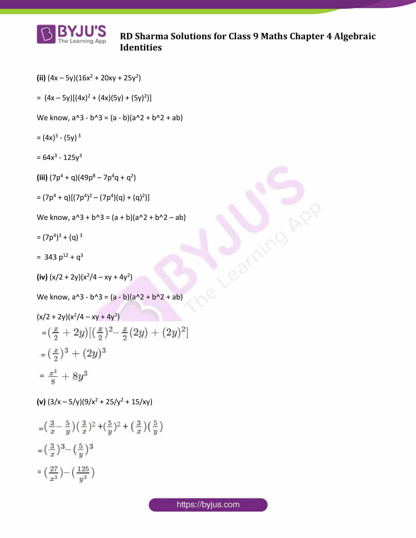 RD Sharma Solution class 9 Maths Chapter 4 Algebraic Identities 19