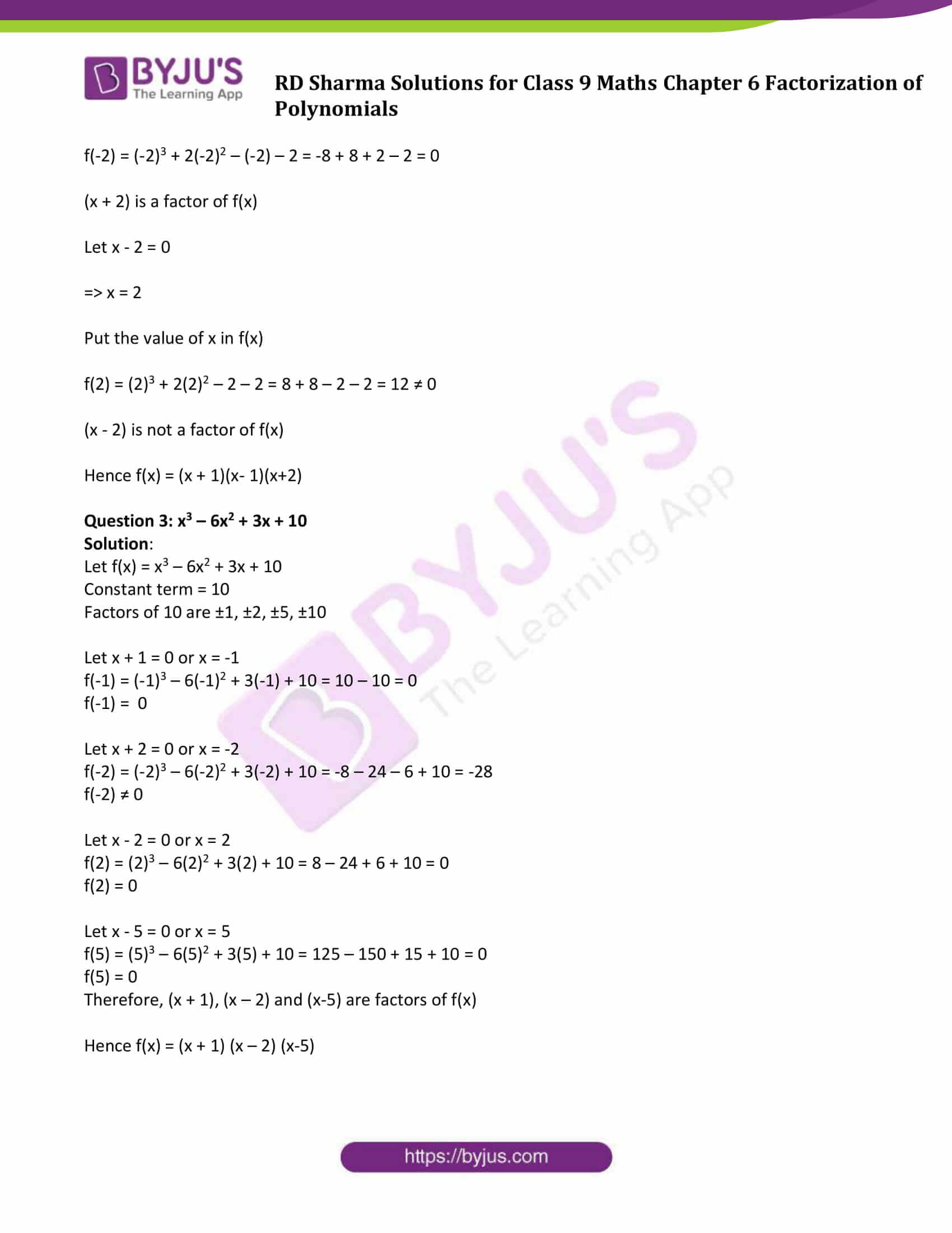 RD Sharma Solution class 9 Maths Chapter 6 Factorization of Polynomials 20