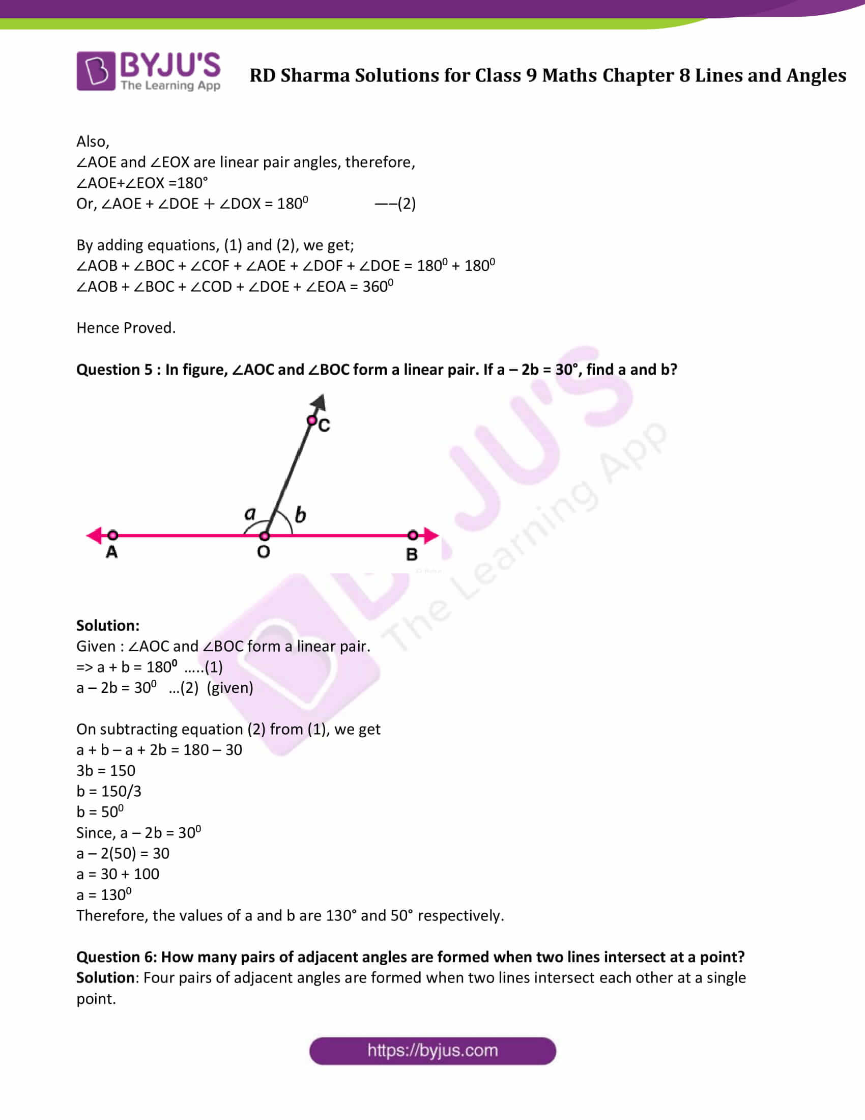 RD Sharma Solution class 9 Maths Chapter 8 Lines and Angles 07