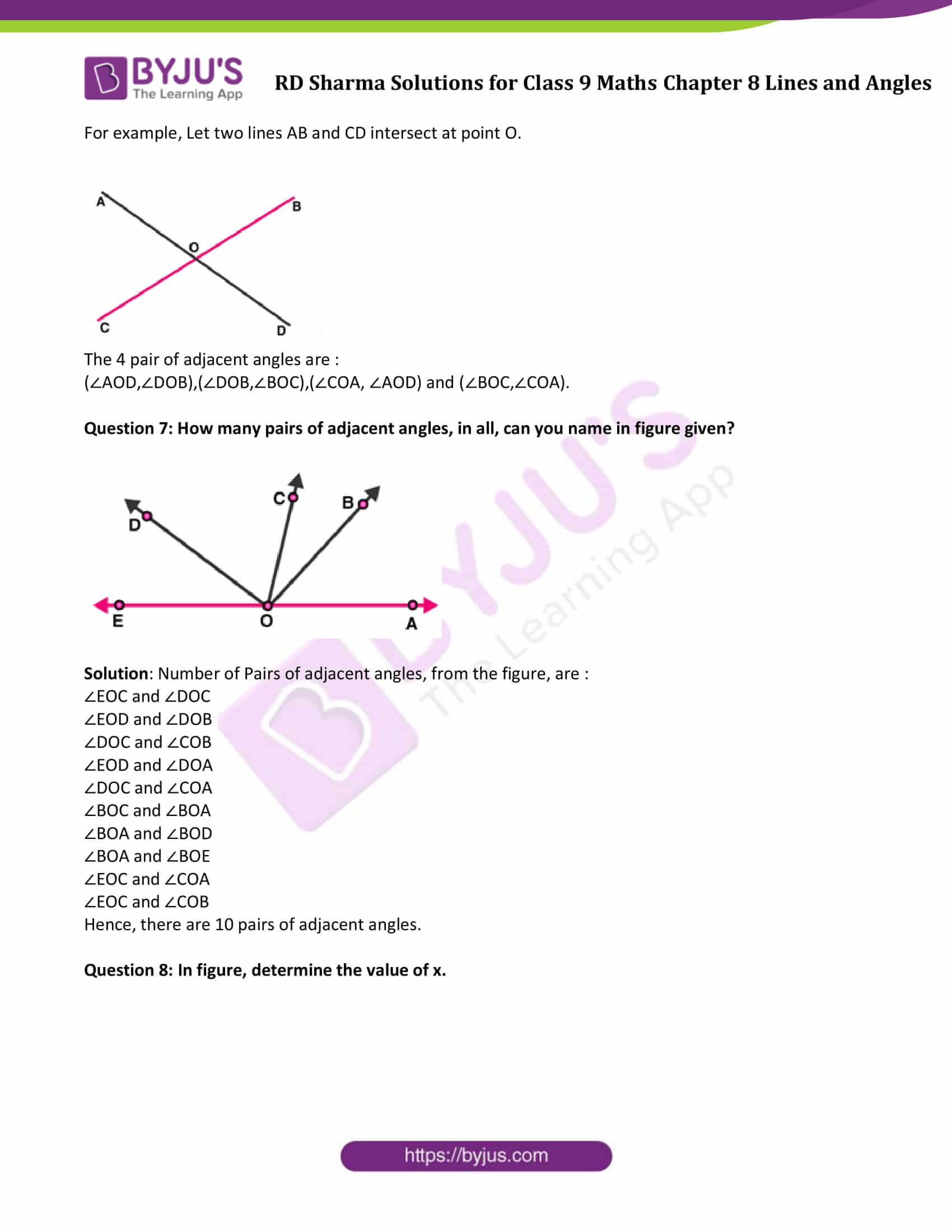 RD Sharma Solution class 9 Maths Chapter 8 Lines and Angles 08
