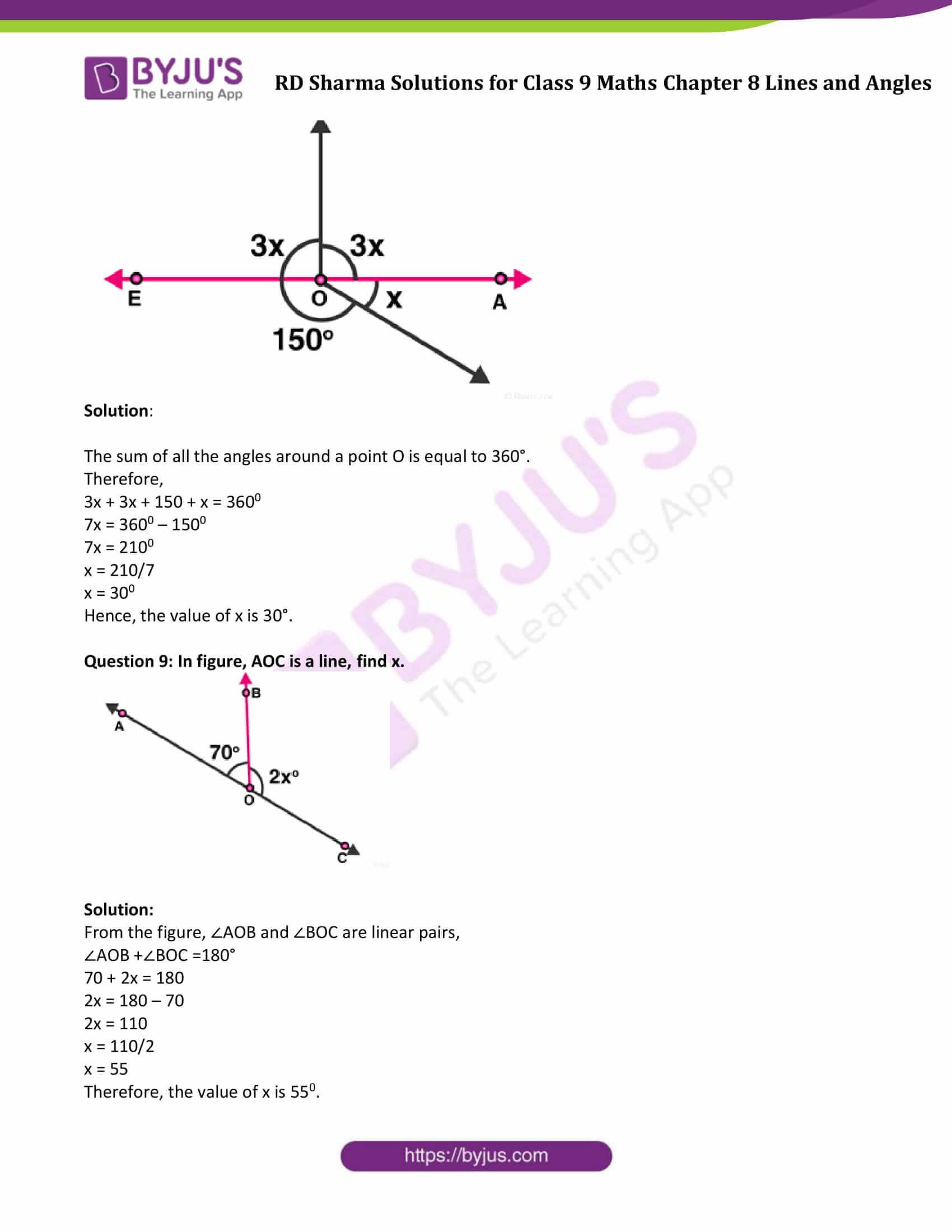 RD Sharma Solution class 9 Maths Chapter 8 Lines and Angles 09
