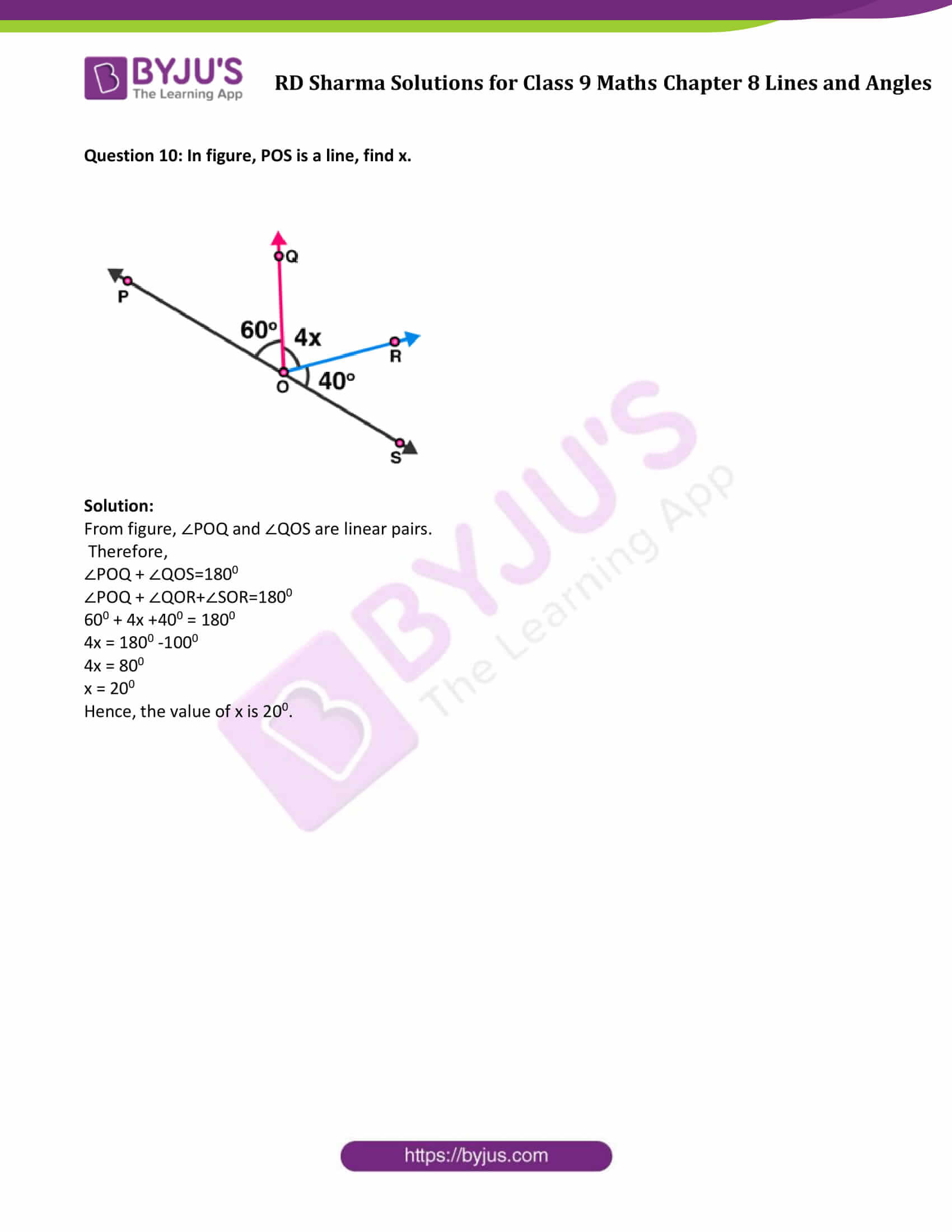 RD Sharma Solution class 9 Maths Chapter 8 Lines and Angles 10