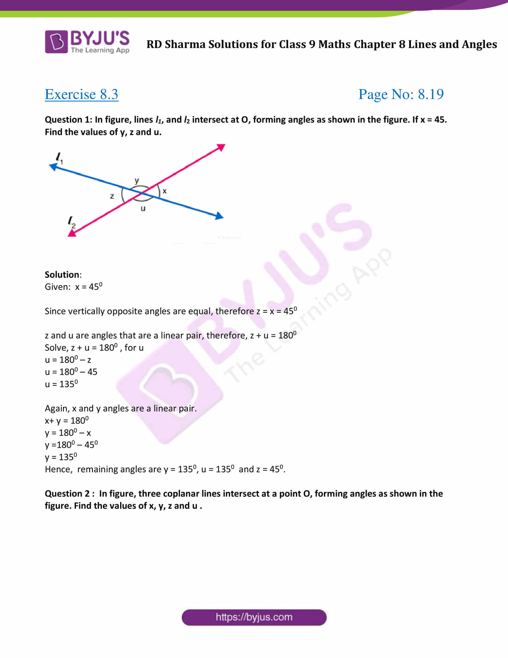 RD Sharma Solution class 9 Maths Chapter 8 Lines and Angles 11