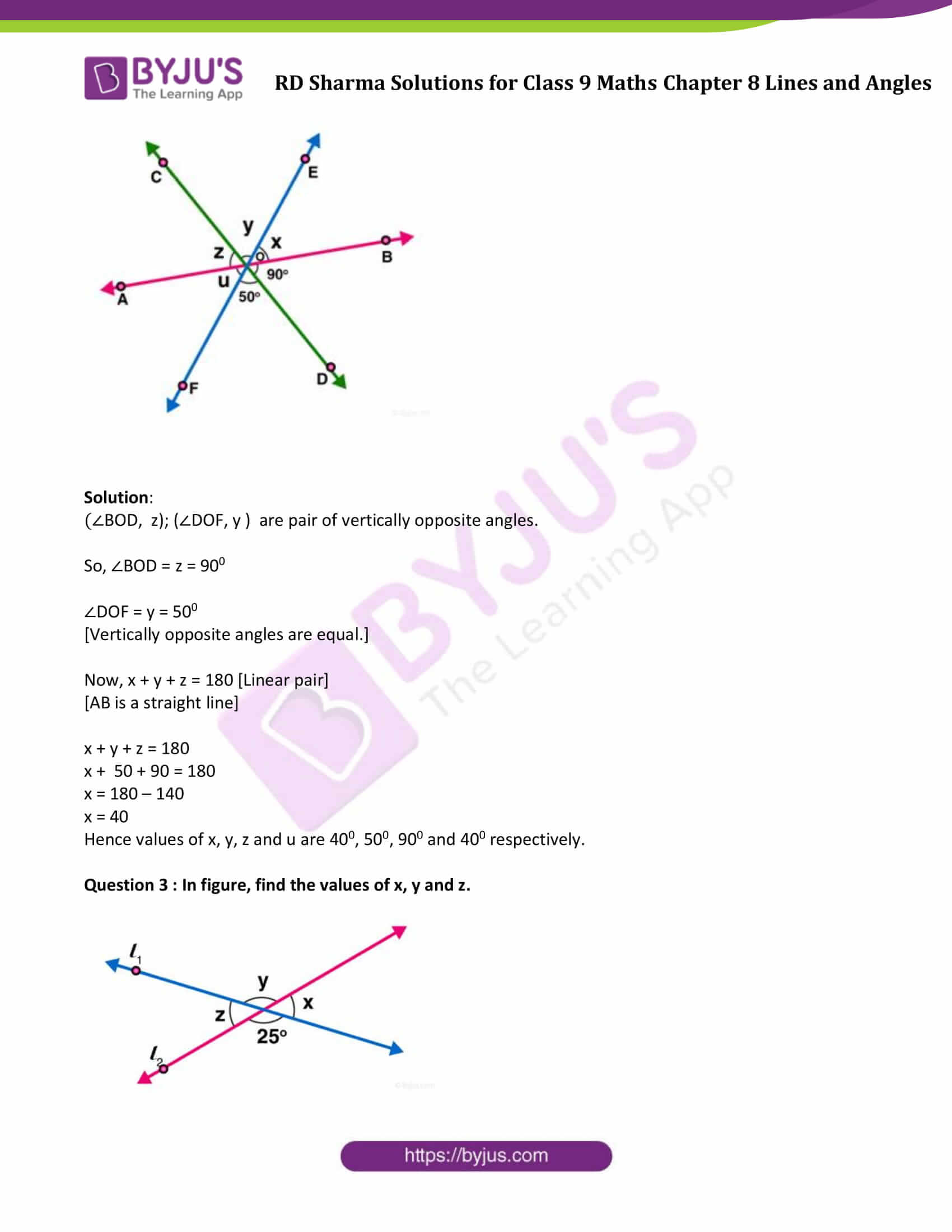 RD Sharma Solution class 9 Maths Chapter 8 Lines and Angles 12