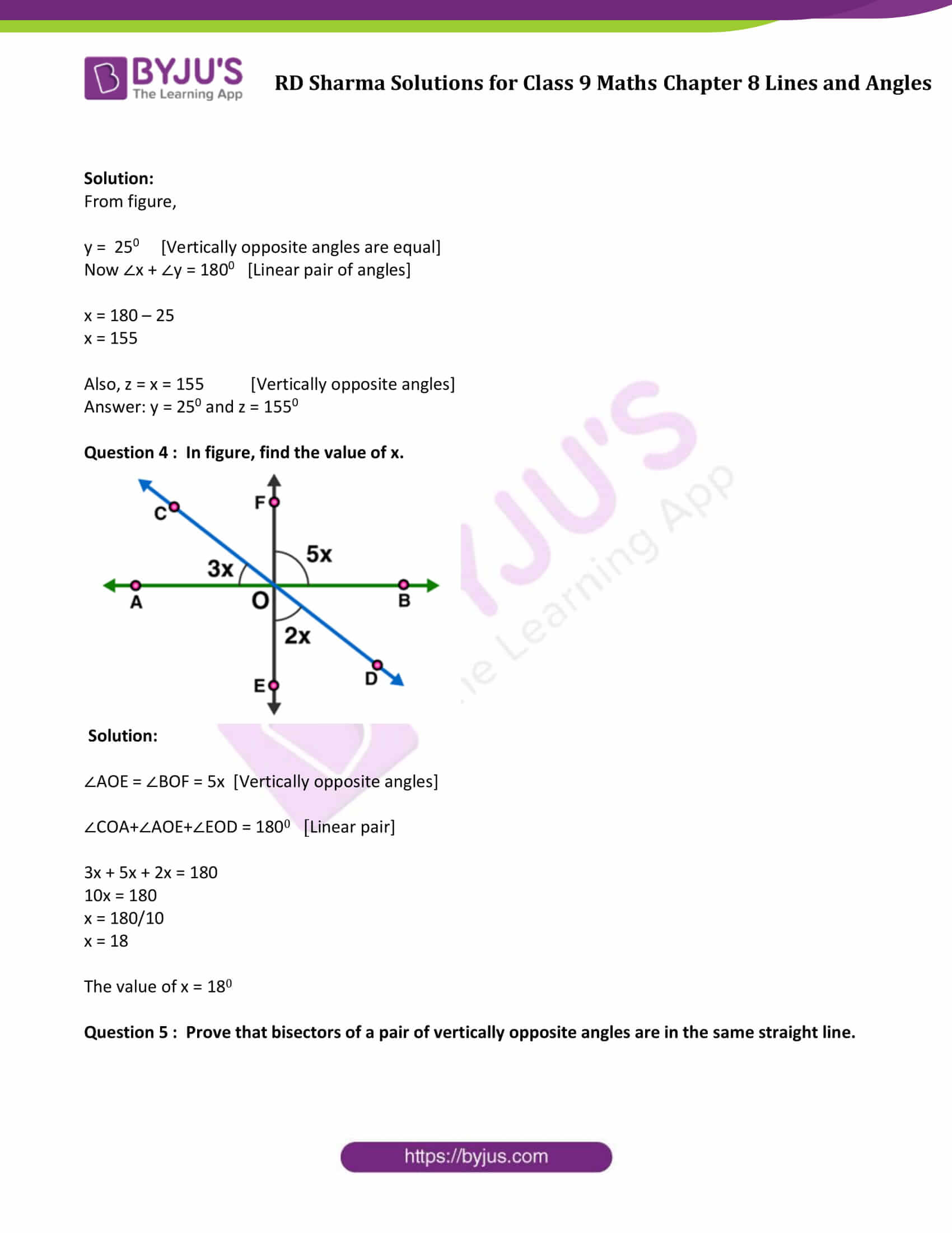 RD Sharma Solution class 9 Maths Chapter 8 Lines and Angles 13