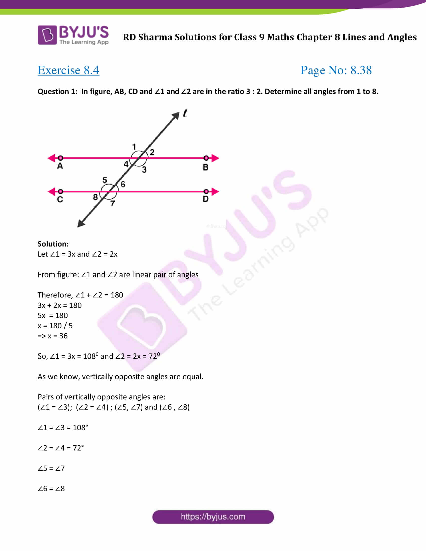 RD Sharma Solution class 9 Maths Chapter 8 Lines and Angles 16