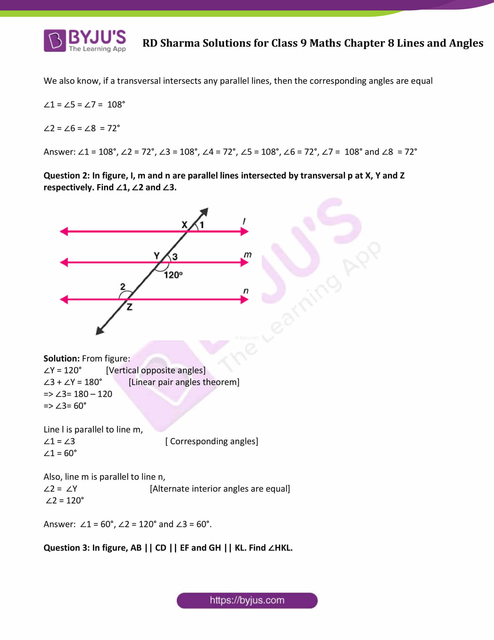 RD Sharma Solution class 9 Maths Chapter 8 Lines and Angles 17