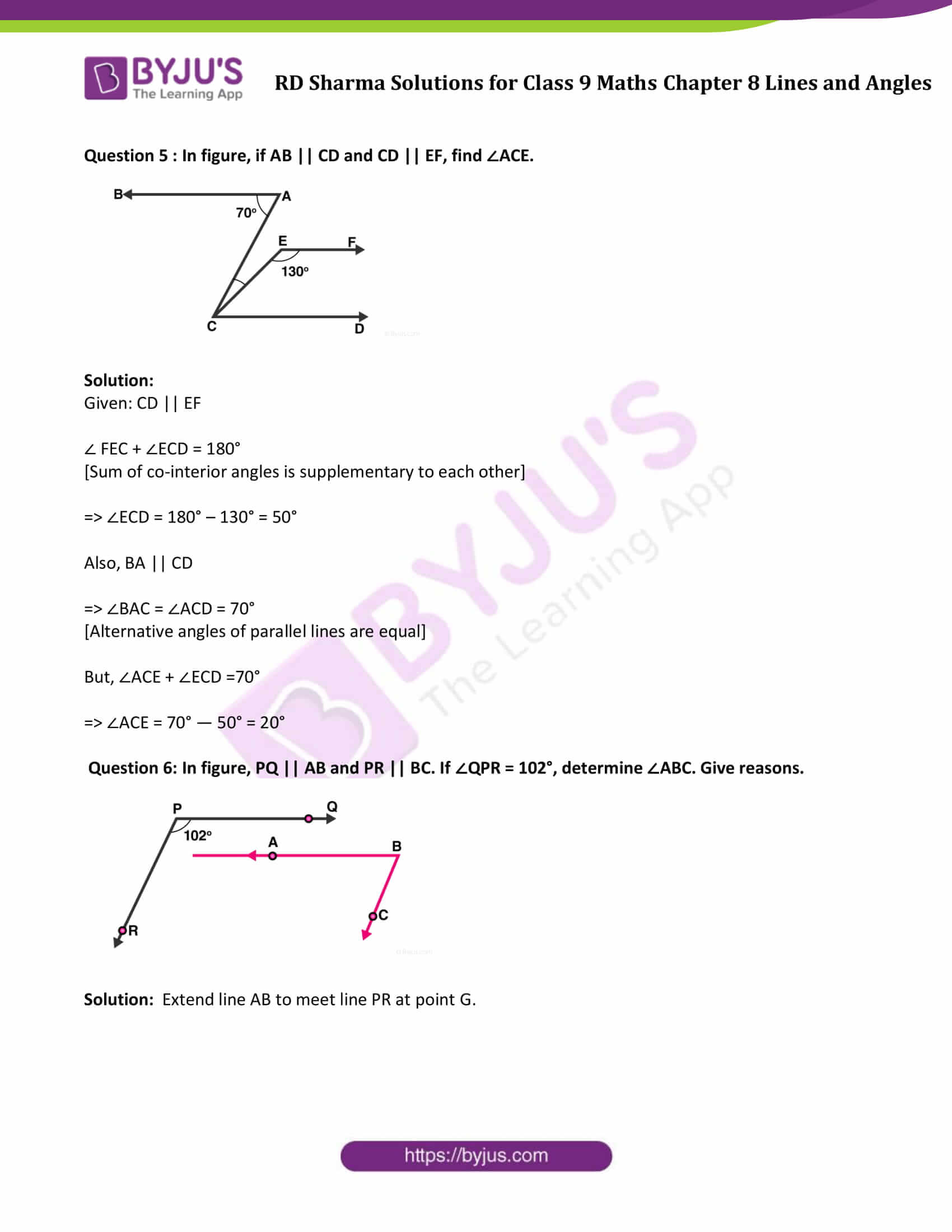 RD Sharma Solution class 9 Maths Chapter 8 Lines and Angles 20
