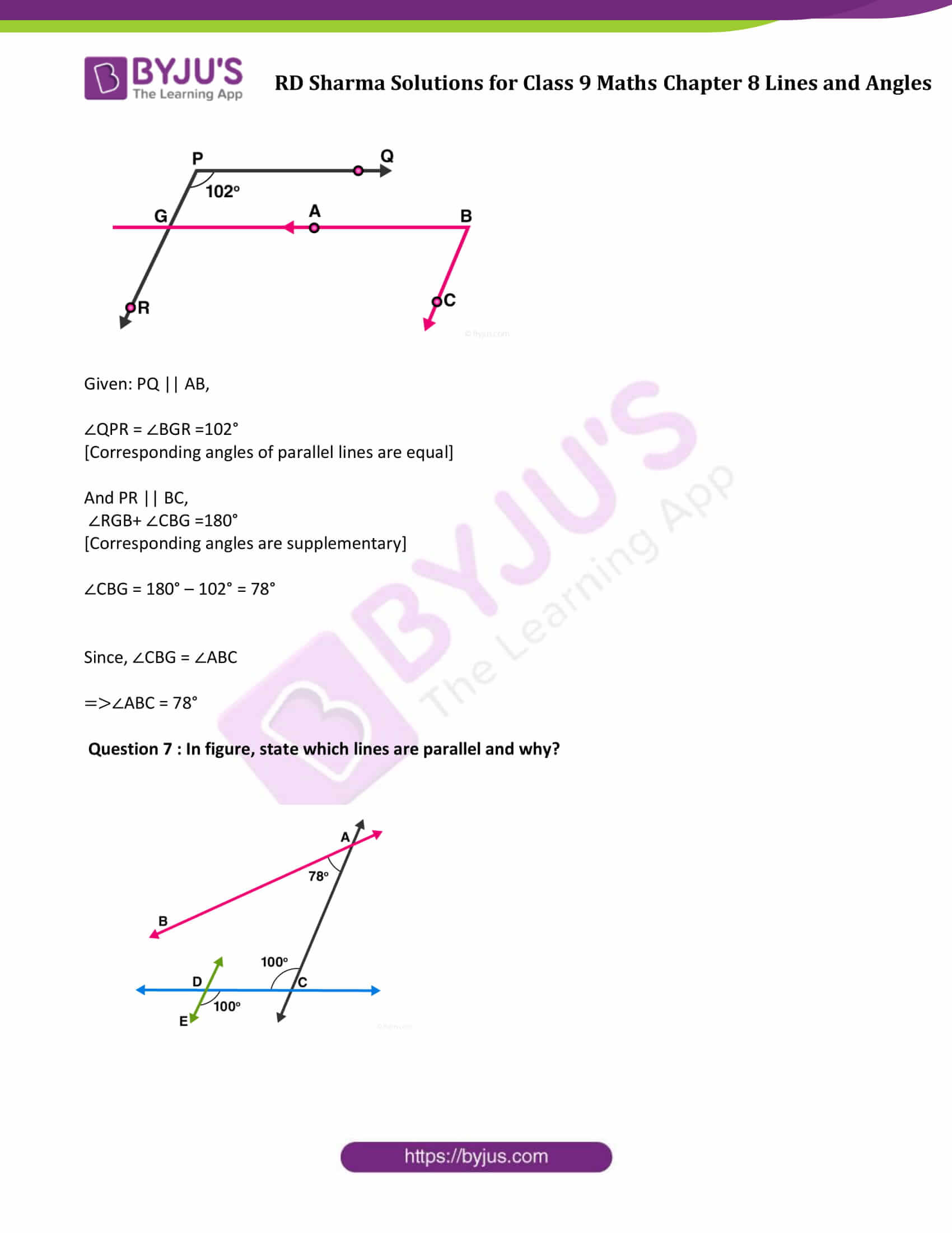 RD Sharma Solution class 9 Maths Chapter 8 Lines and Angles 21