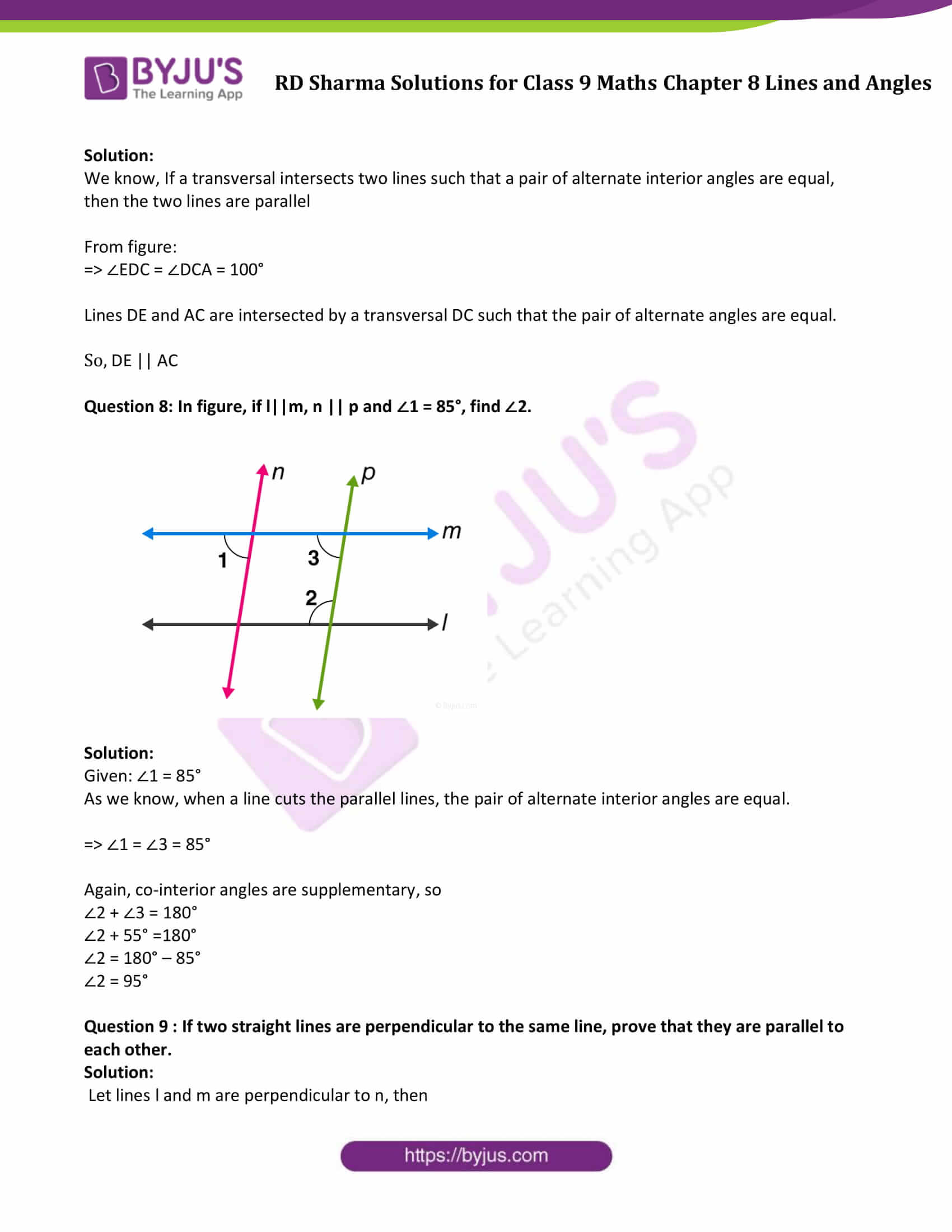 RD Sharma Solution class 9 Maths Chapter 8 Lines and Angles 22