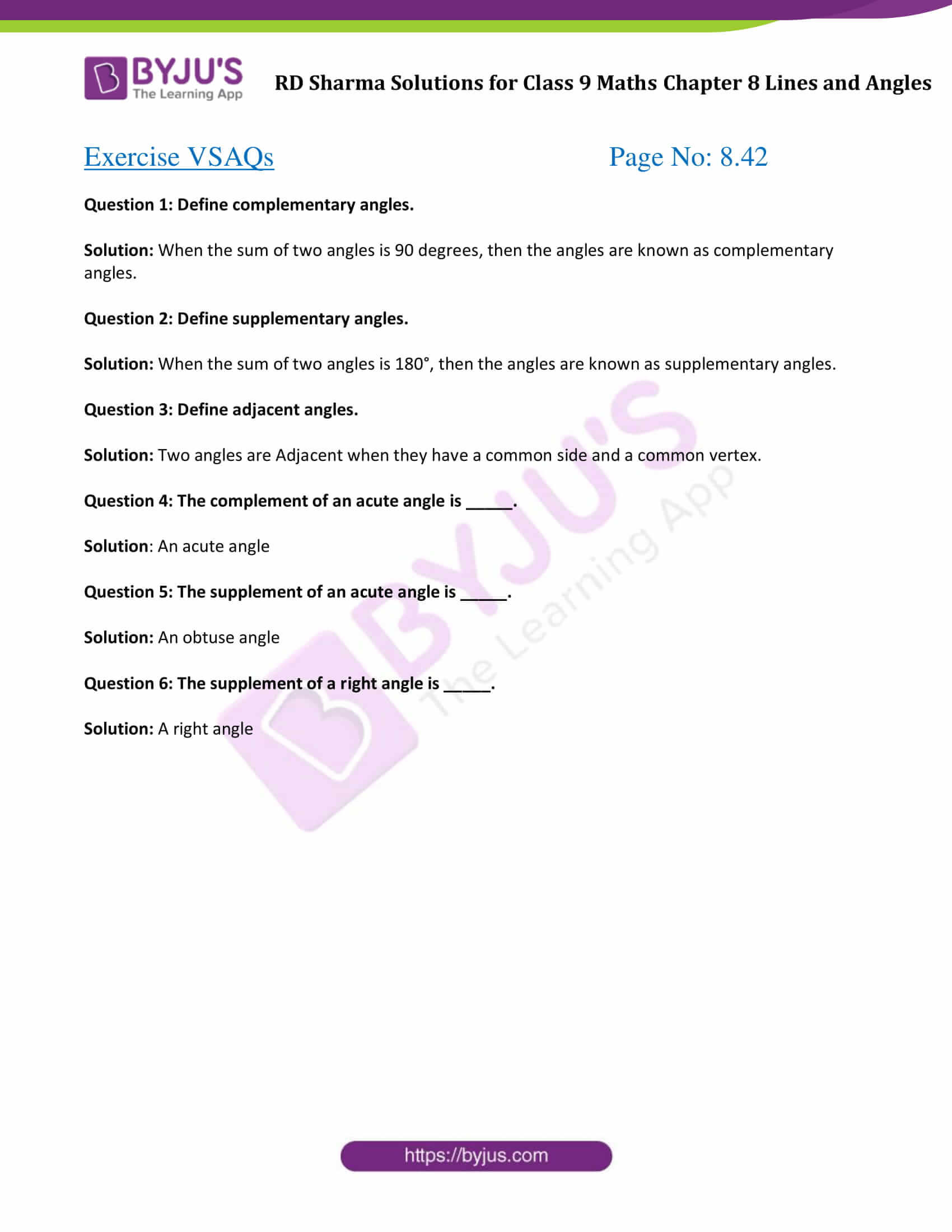Download RD Sharma Solutions for Class 9 Maths Chapter 8 Lines and Angles Exercise VSAQs