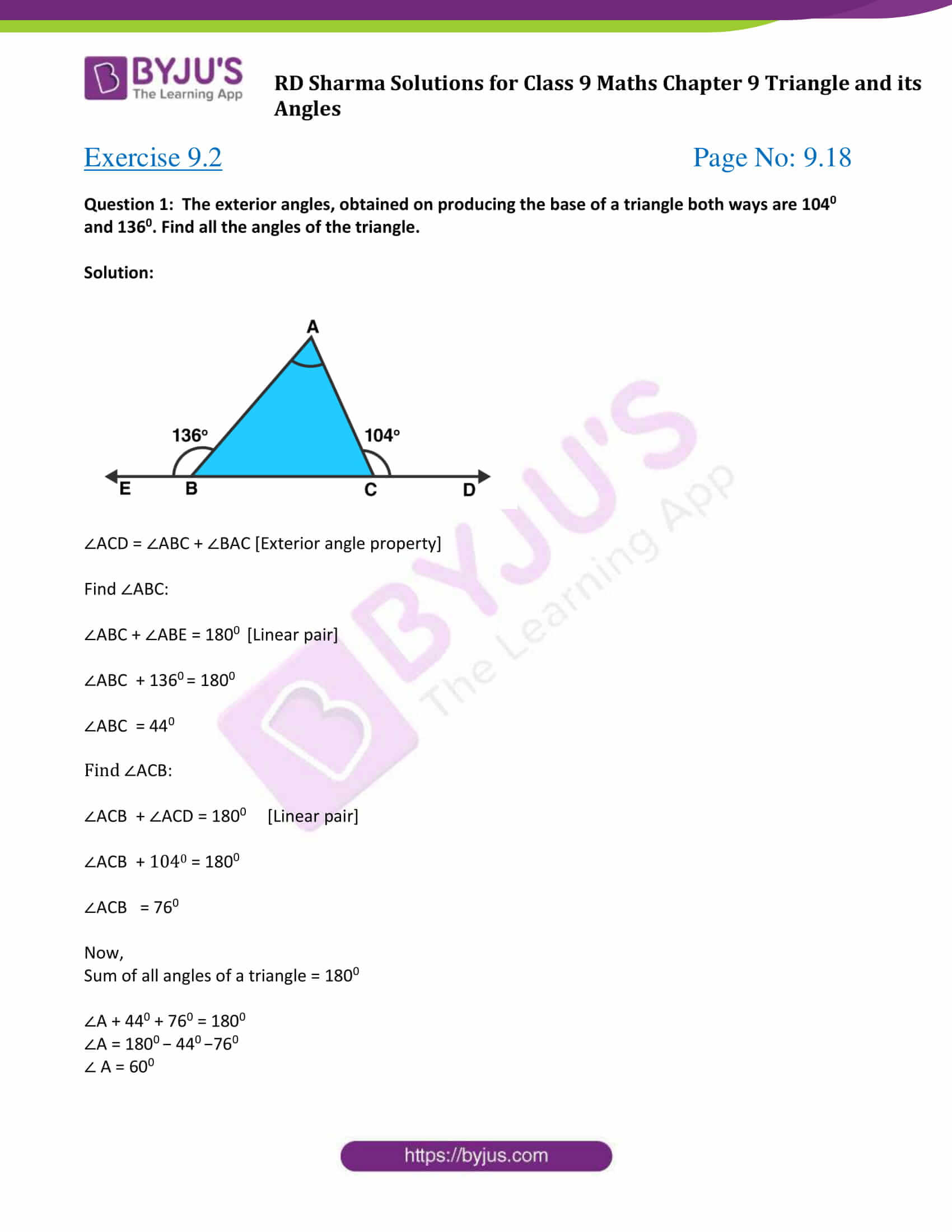 RD Sharma Solution class 9 Maths Chapter 9 Triangle and its Angles 05