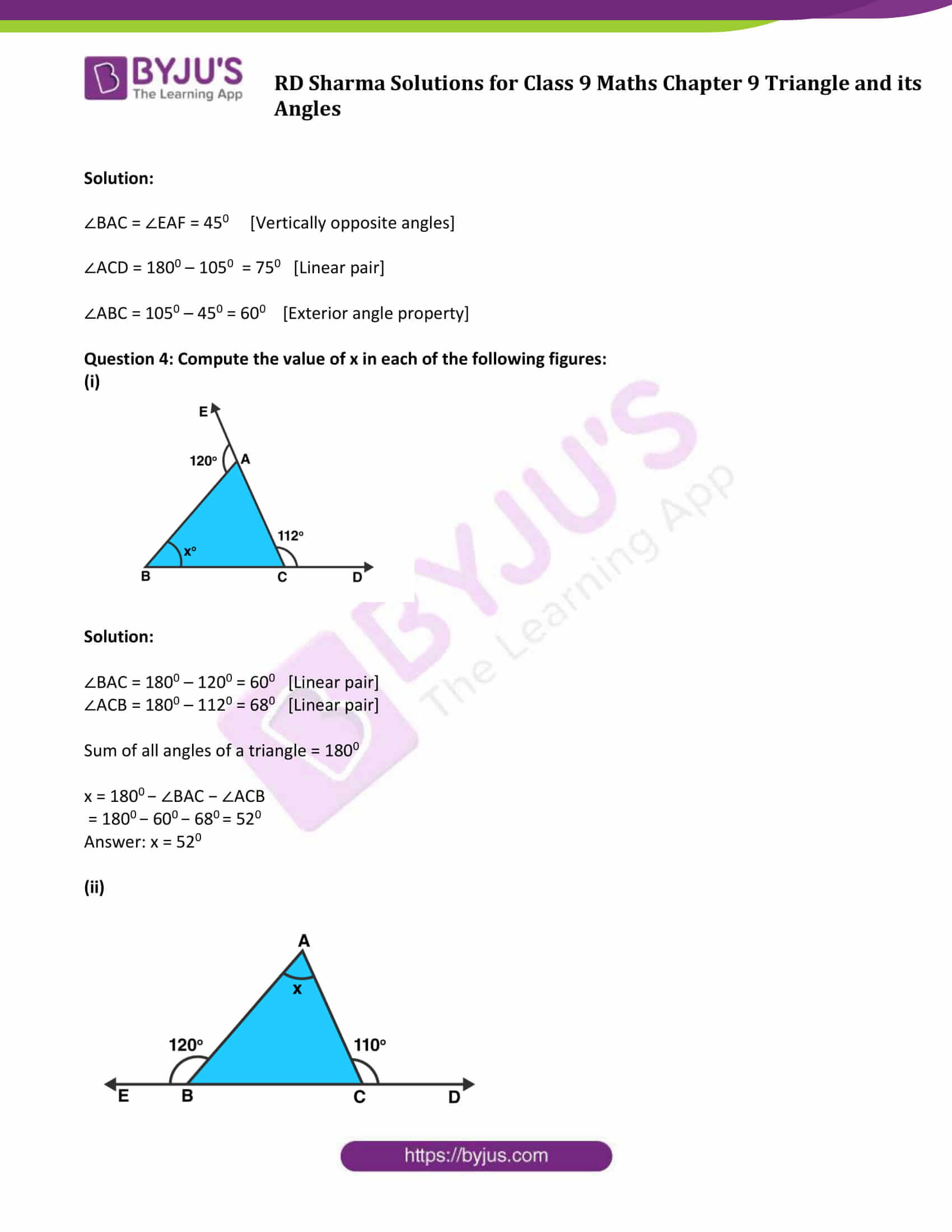 RD Sharma Solution class 9 Maths Chapter 9 Triangle and its Angles 07