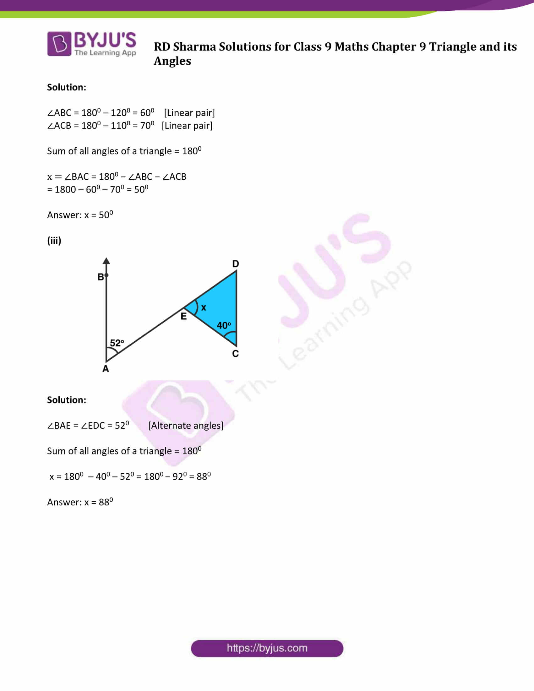 RD Sharma Solution class 9 Maths Chapter 9 Triangle and its Angles 08
