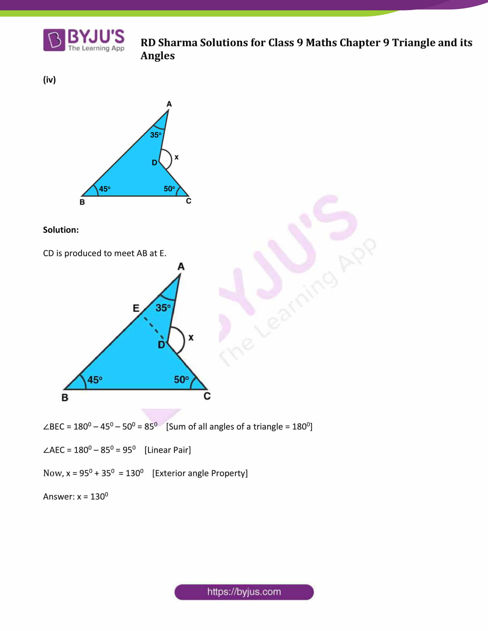 RD Sharma Solution class 9 Maths Chapter 9 Triangle and its Angles 09
