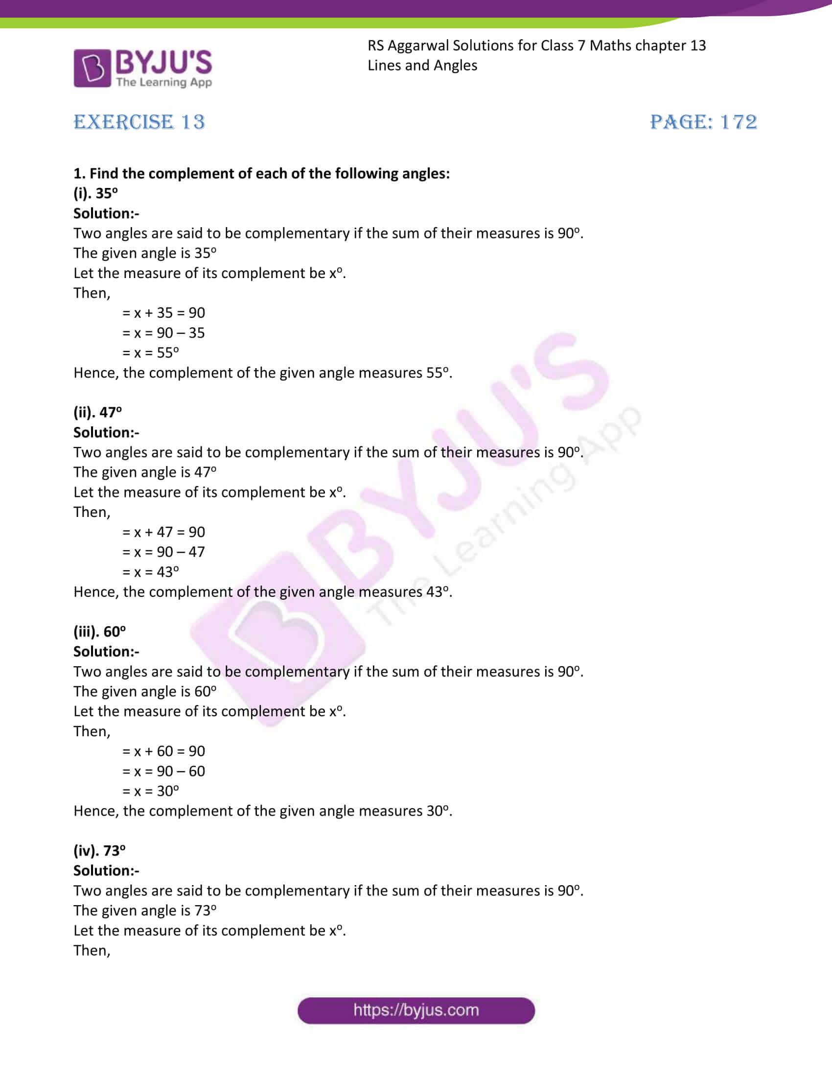 RS Aggarwal Solutions Class 7 Maths Chapter 13 Lines and Angles 1